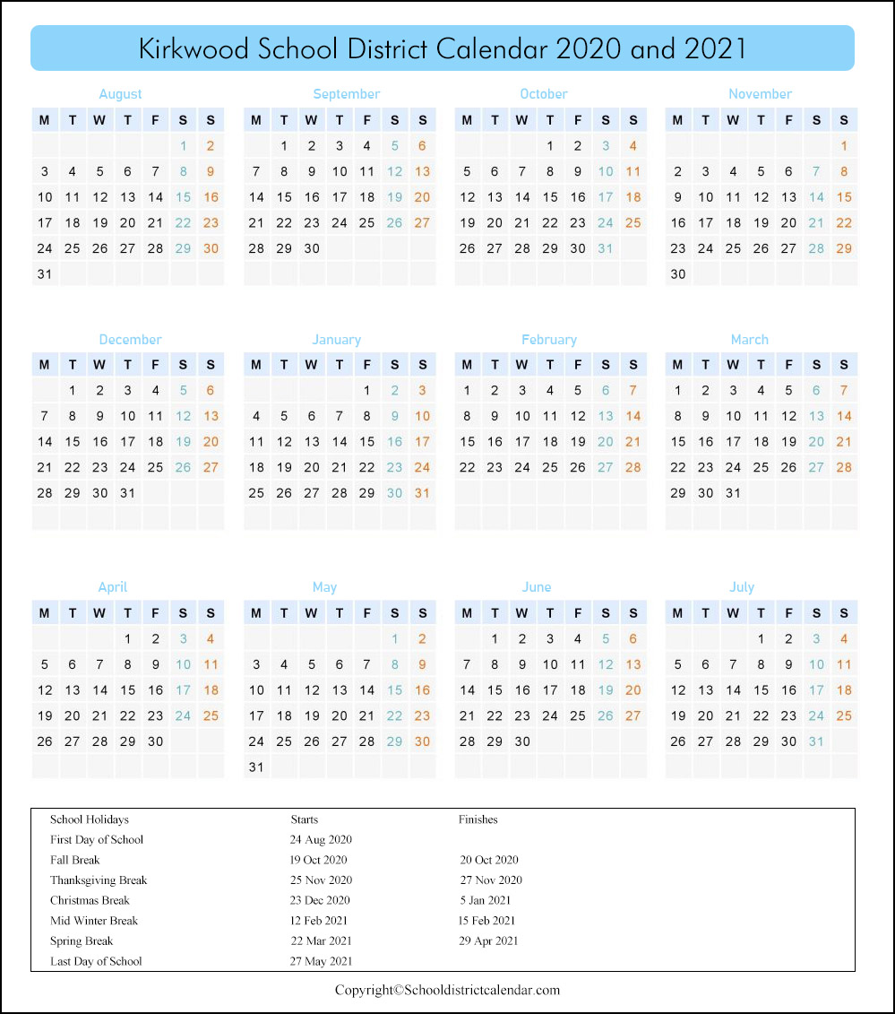 Kirkwood School District, Missouri Calendar Holidays 2020