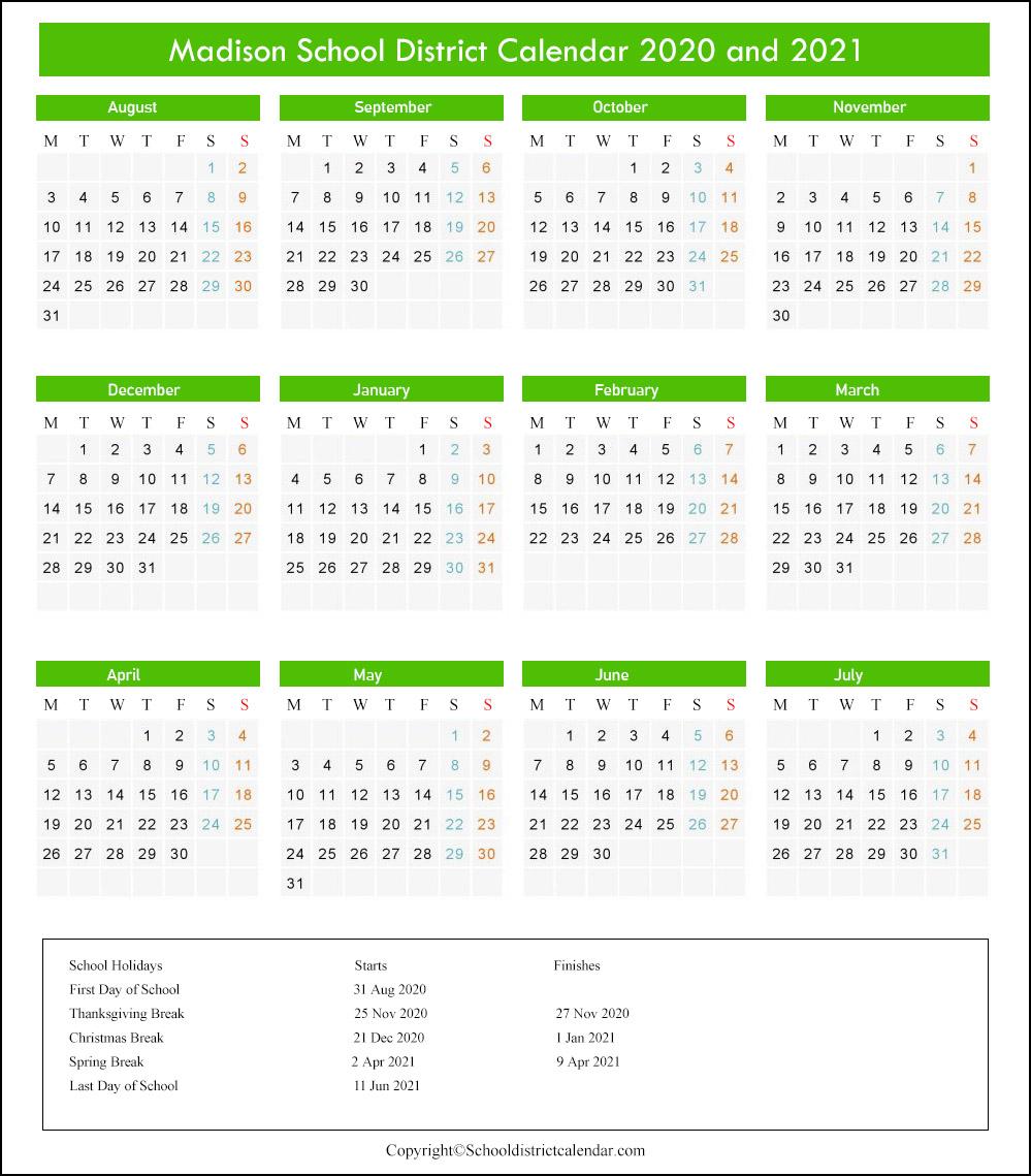 Madison School District Calendar 2020