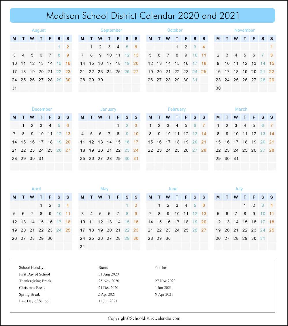 Madison School District, Idaho Calendar Holidays 2020