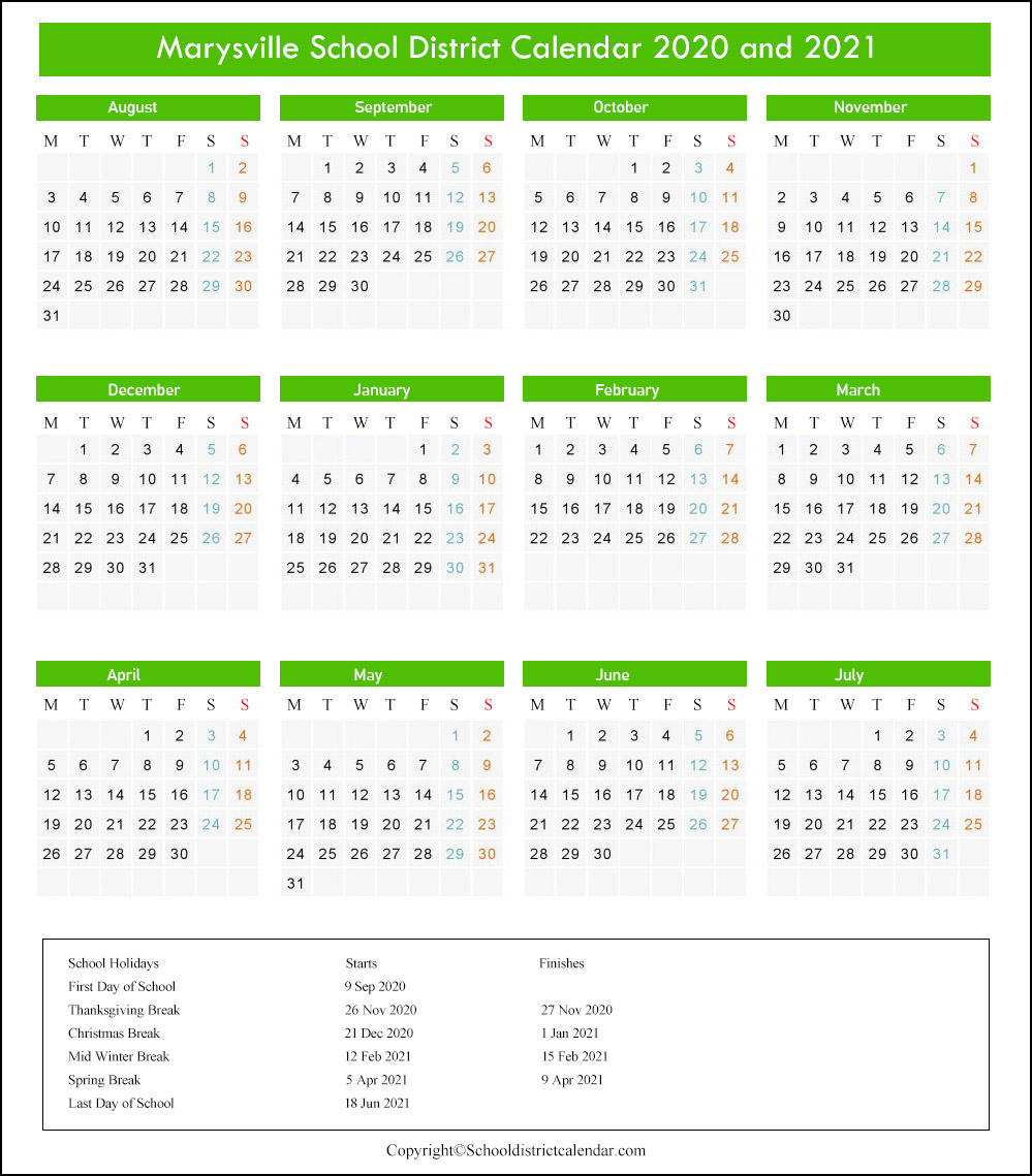 Marysville School District Calendar 2020