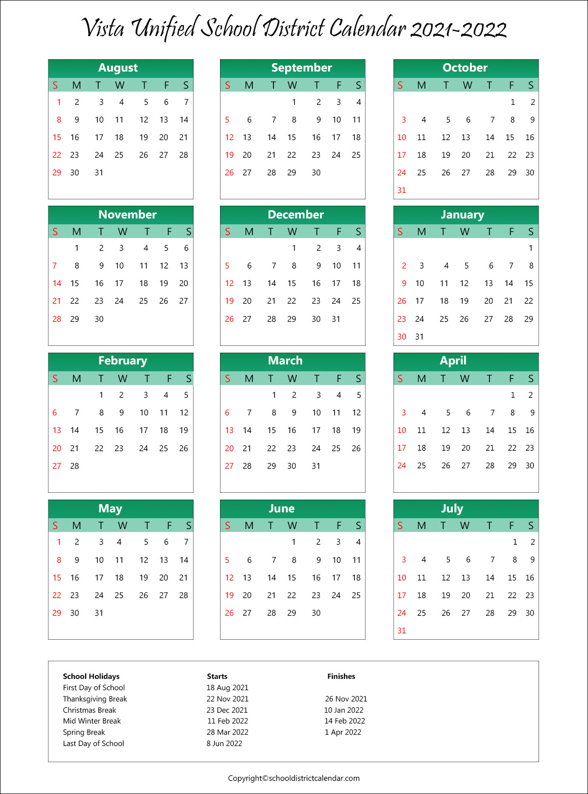 Vista Unified School District, California Calendar Holidays 2021