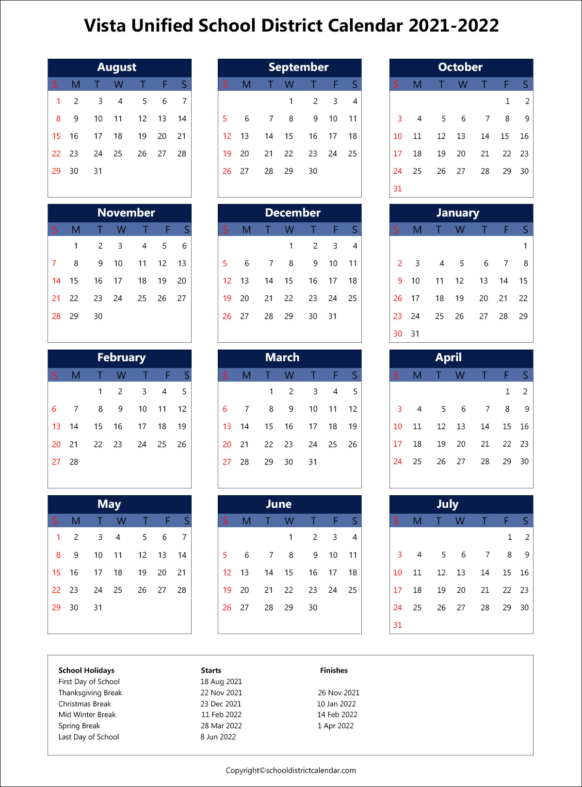 Vista Unified School District Calendar 2021