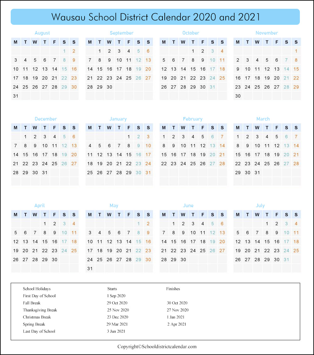 Wausau School District, Wisconsin Calendar Holidays 2020