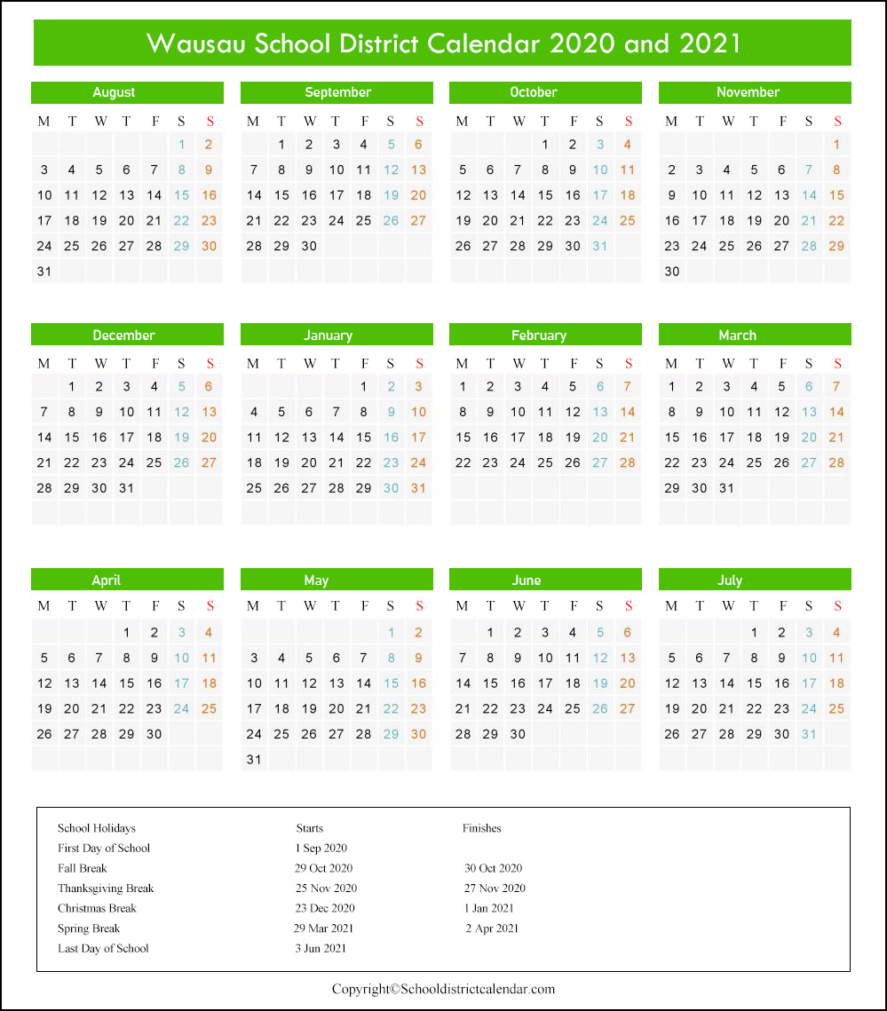 Wausau School District Calendar 2020