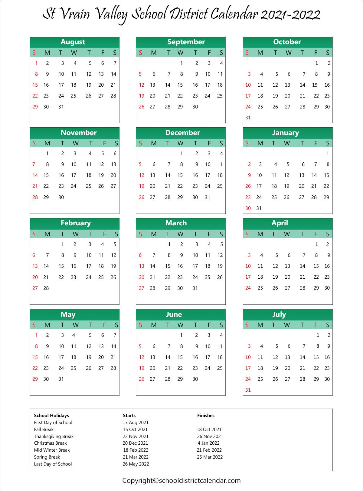 St. Vrain Valley School District, Colorado Calendar Holidays 2021-22