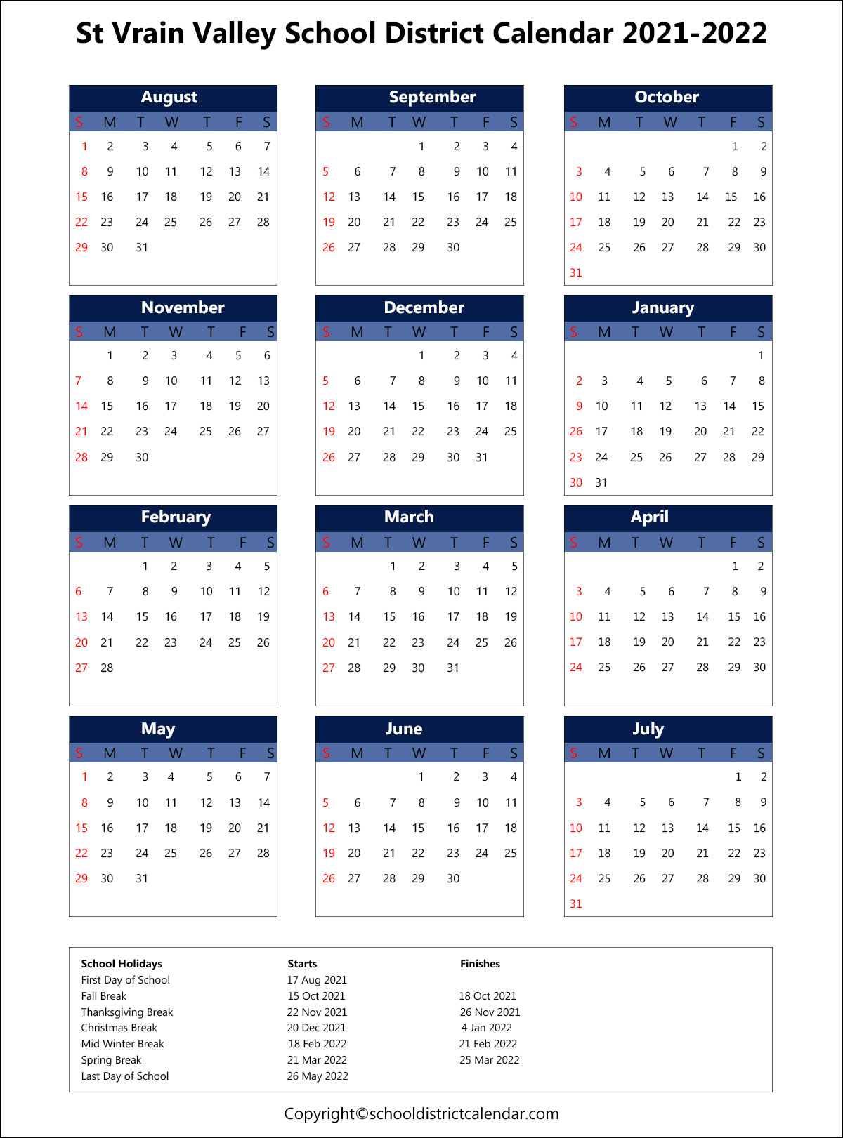 St. Vrain Valley School District Calendar 2021
