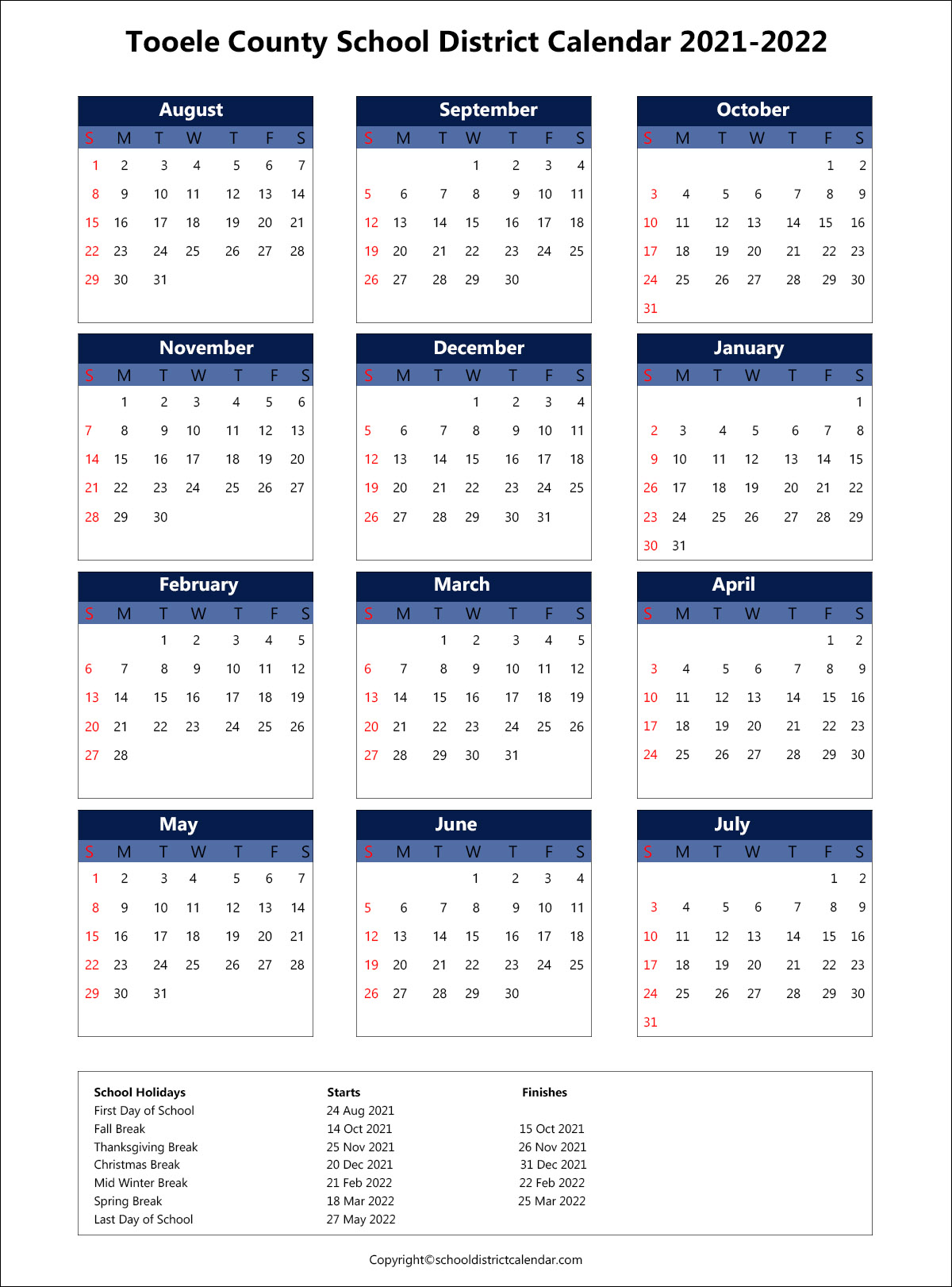 Tooele County School District Calendar 2021