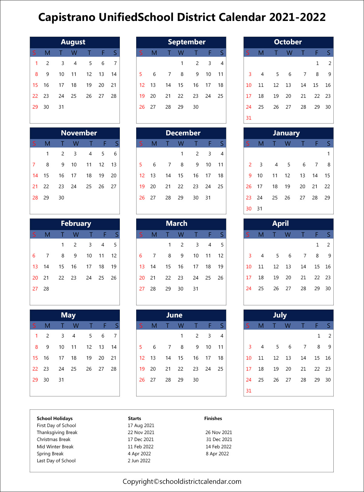 Capistrano Unified School District Calendar 2021