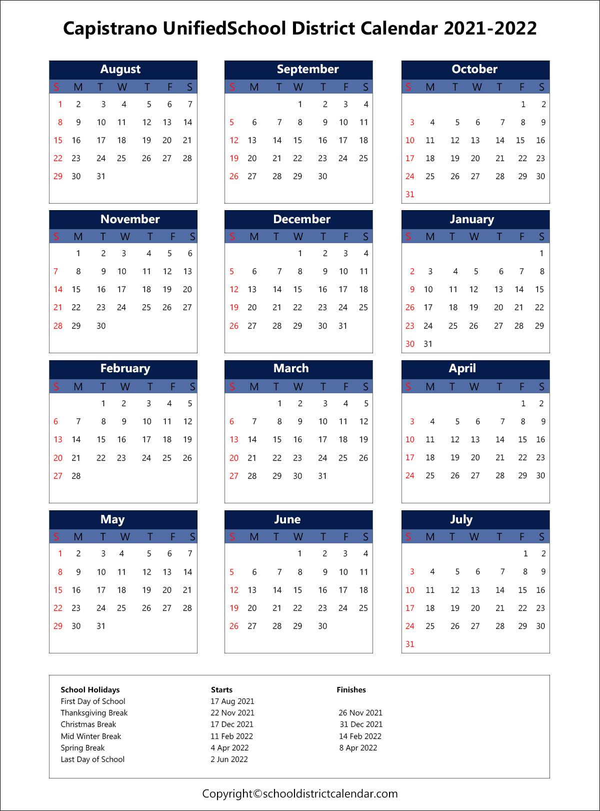 Cusd Calendar 2022.Capistrano Unified School District Calendar Holidays 2020 2021