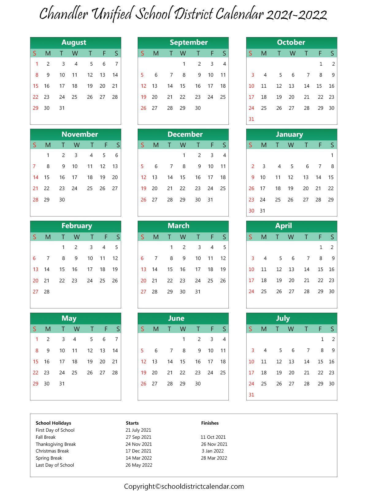 Chandler Unified School District, Arizona Calendar Holidays 2021