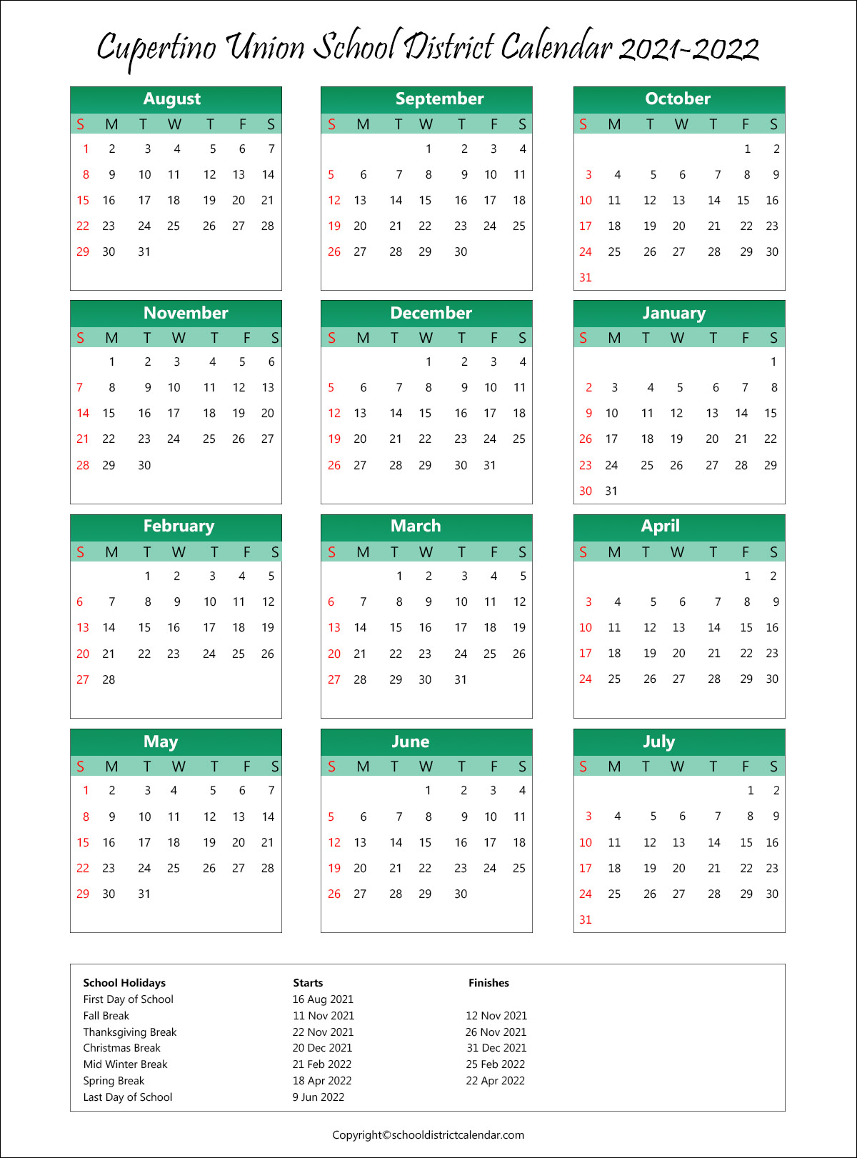 Cupertino Union School District, California Calendar Holidays 2021