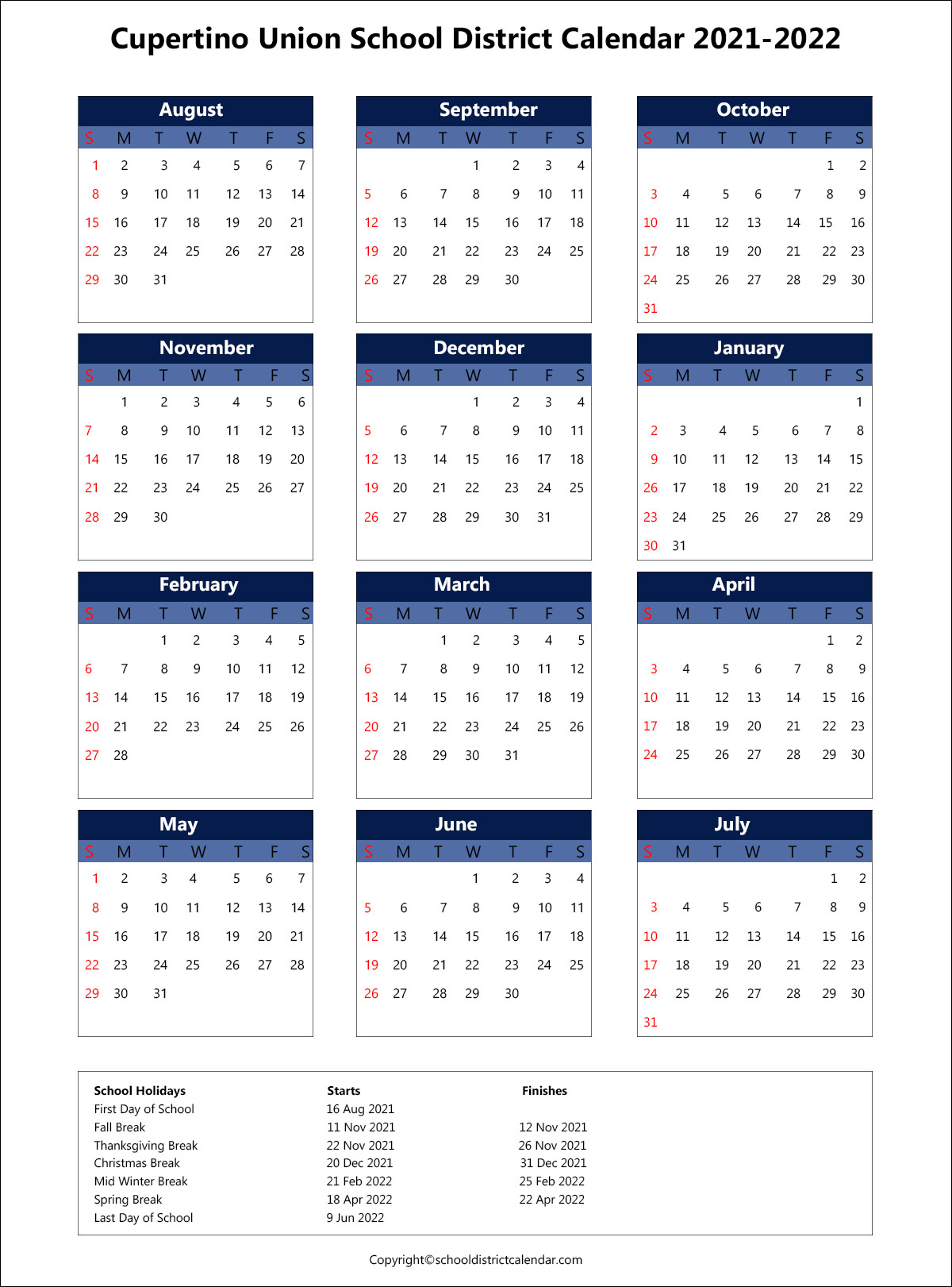 Cupertino Union School District Calendar 2021