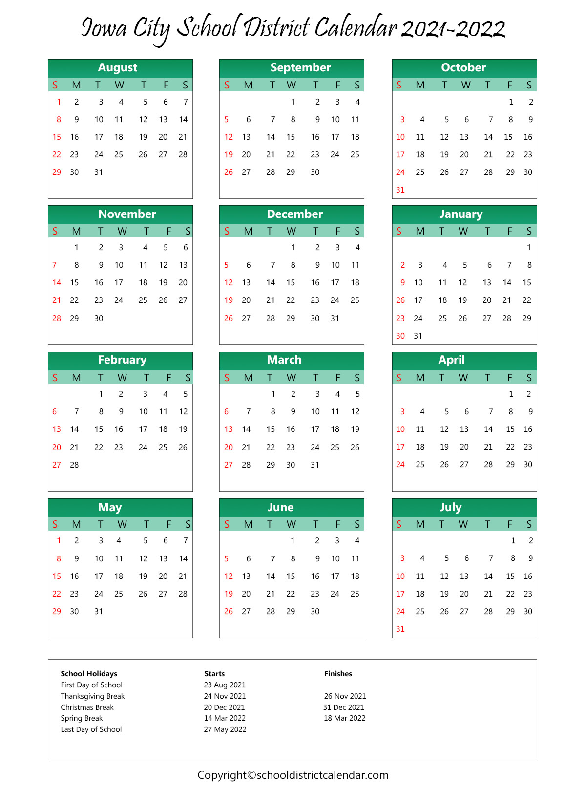 Iowa City School District, Johnson County Calendar Holidays 2021