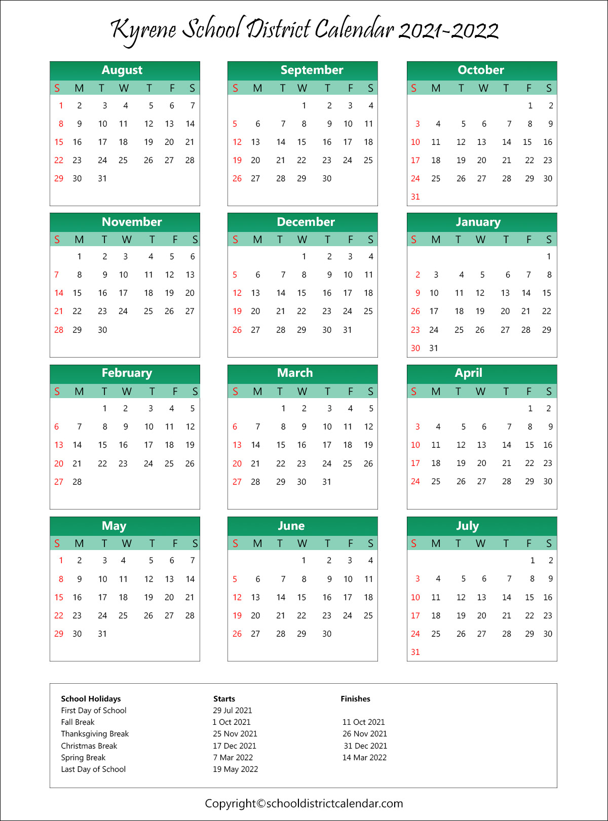 Kyrene School District, Arizona Calendar Holidays 2021