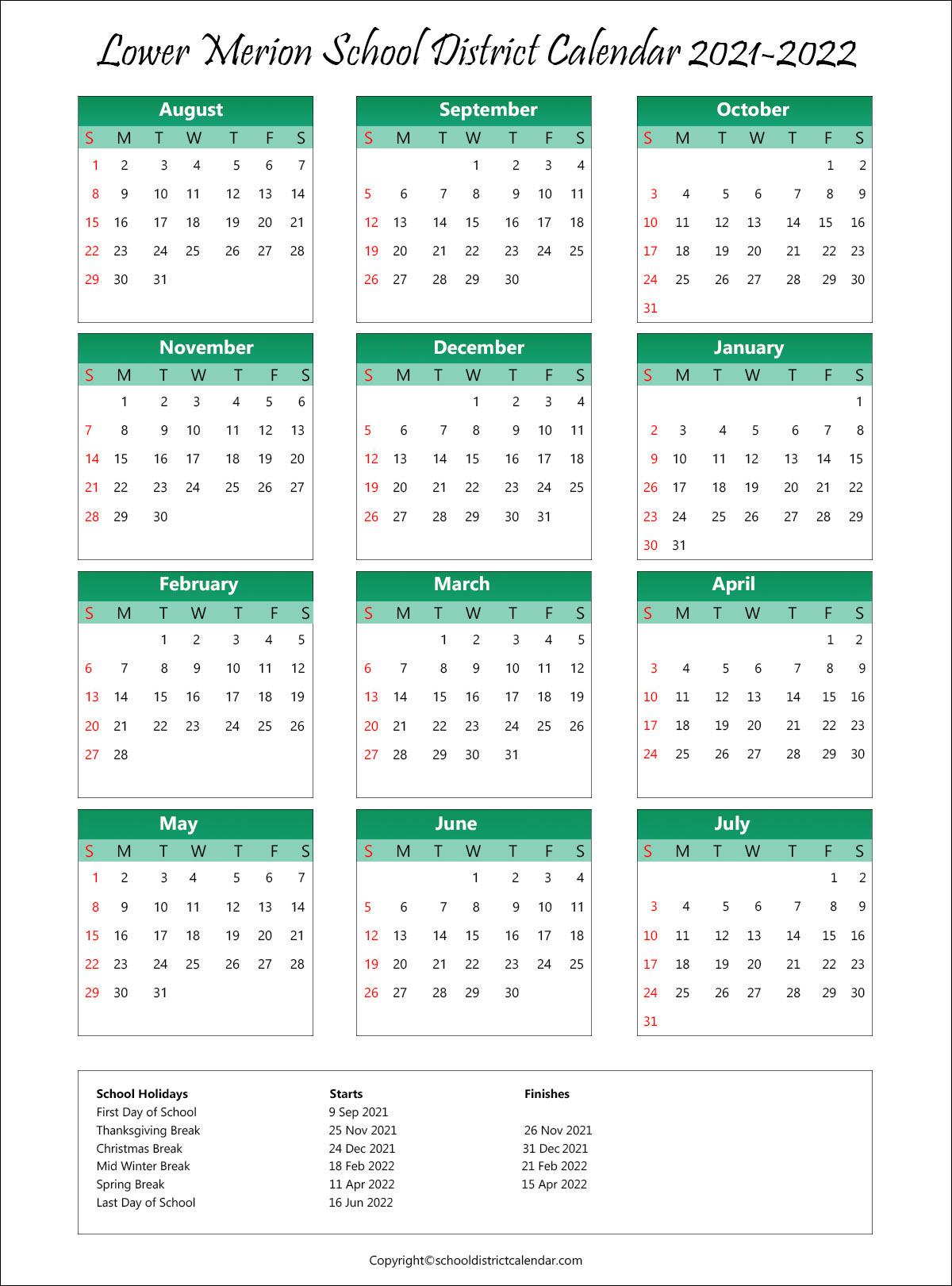 Lower Merion School District, Pennsylvania Calendar Holidays 2021