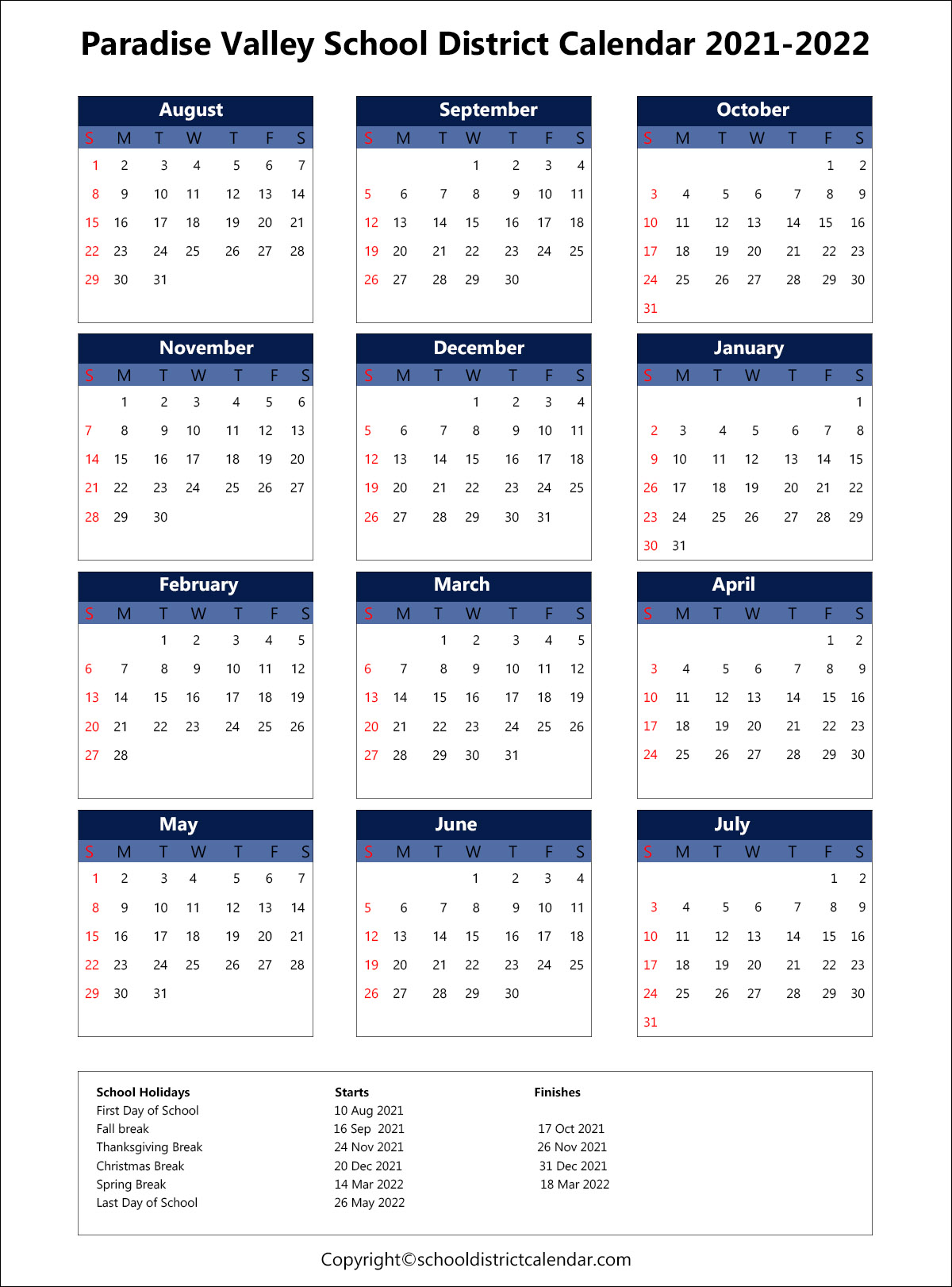 Paradise Valley Unified School District Calendar 2021