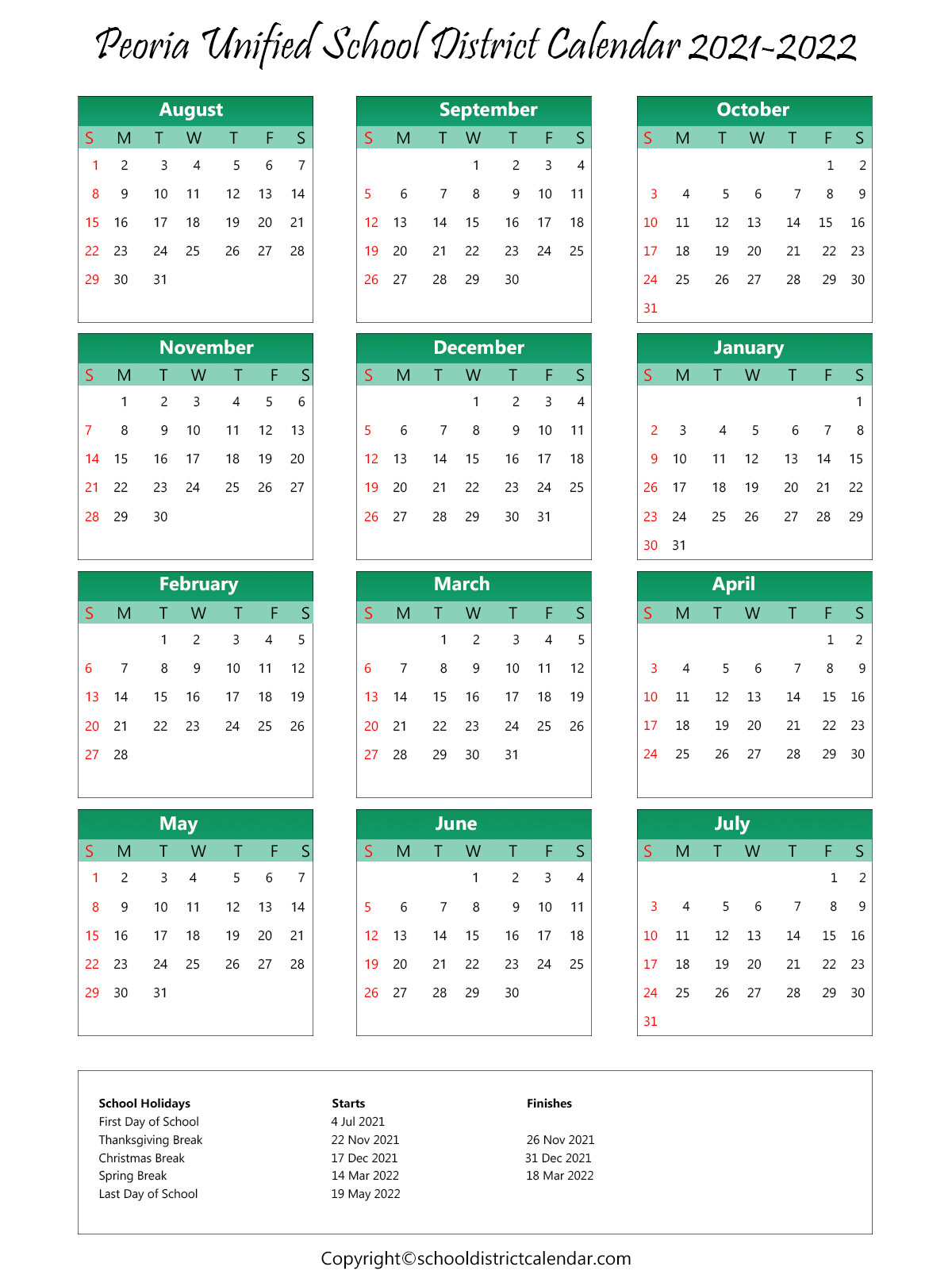 Peoria Unified School District, Arizona Calendar Holidays 2021