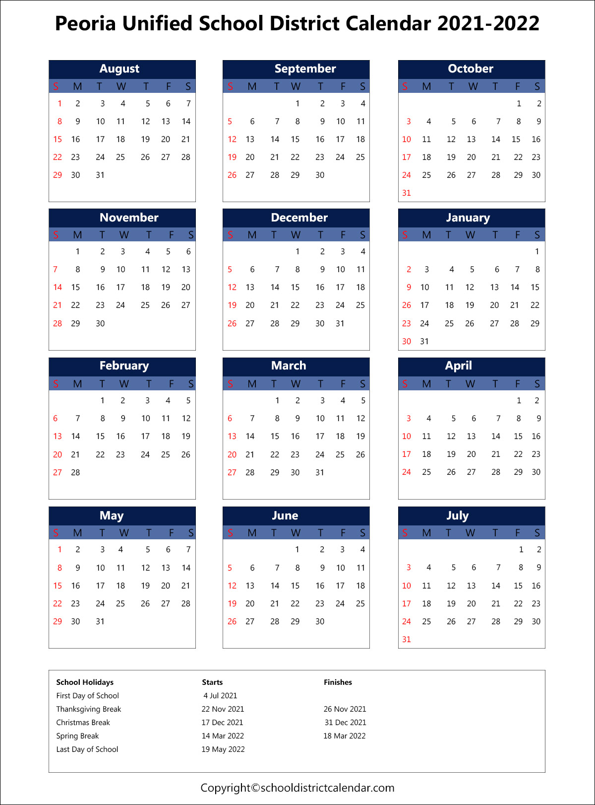 Peoria Unified School District Calendar 2021
