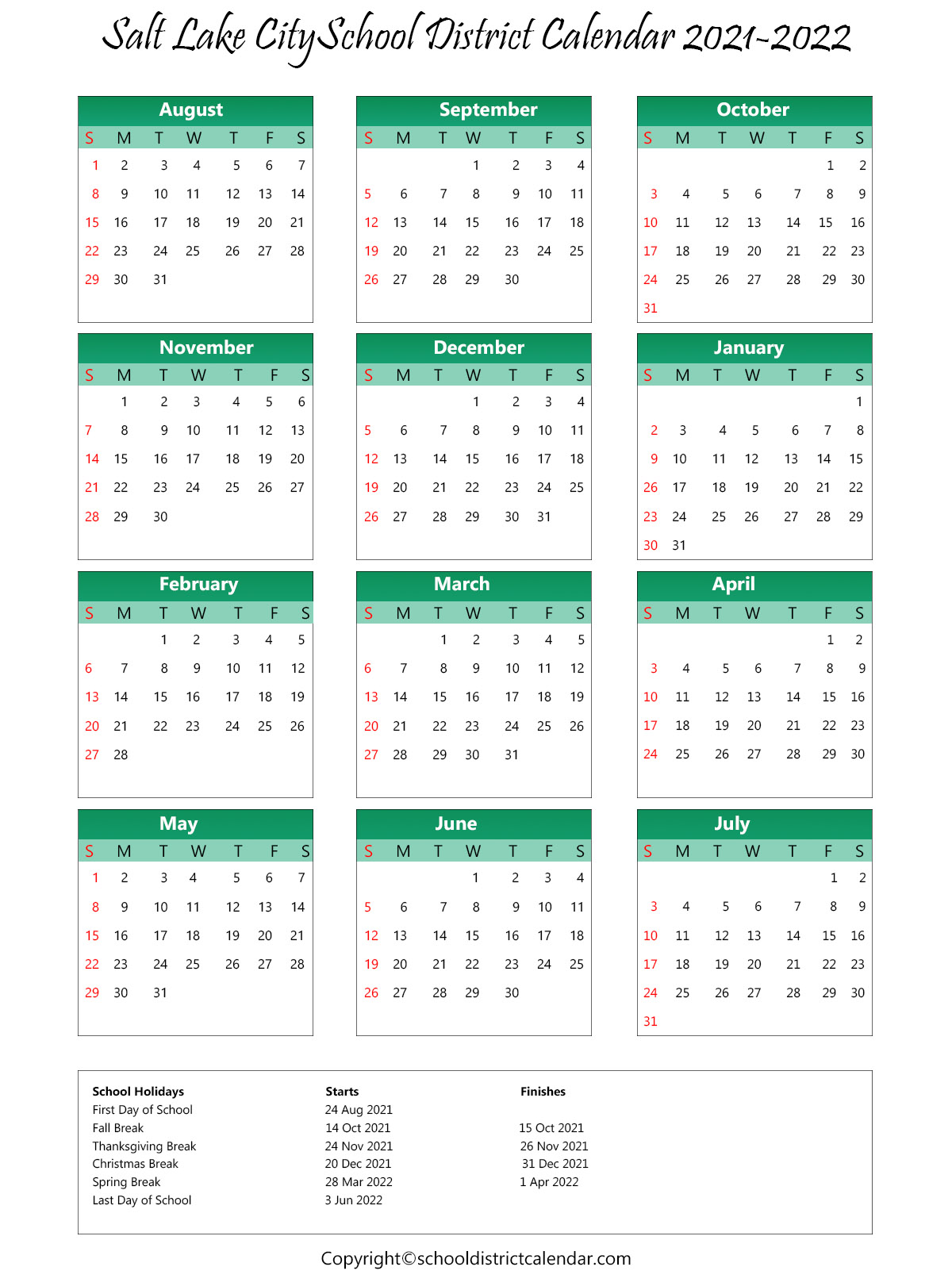 Salt Lake City School District, Utah Calendar Holidays 2021