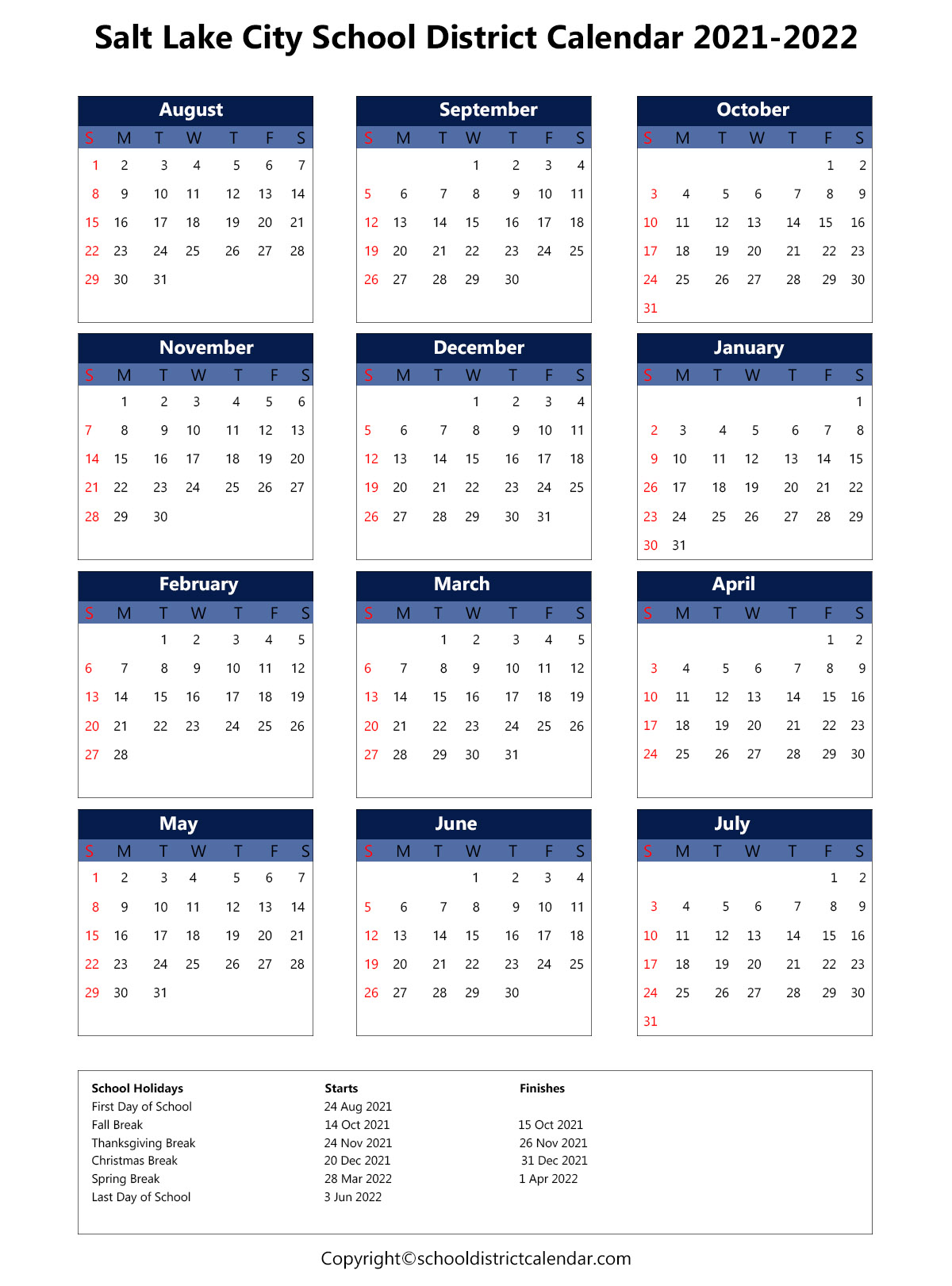 Salt Lake City School District Calendar 2021