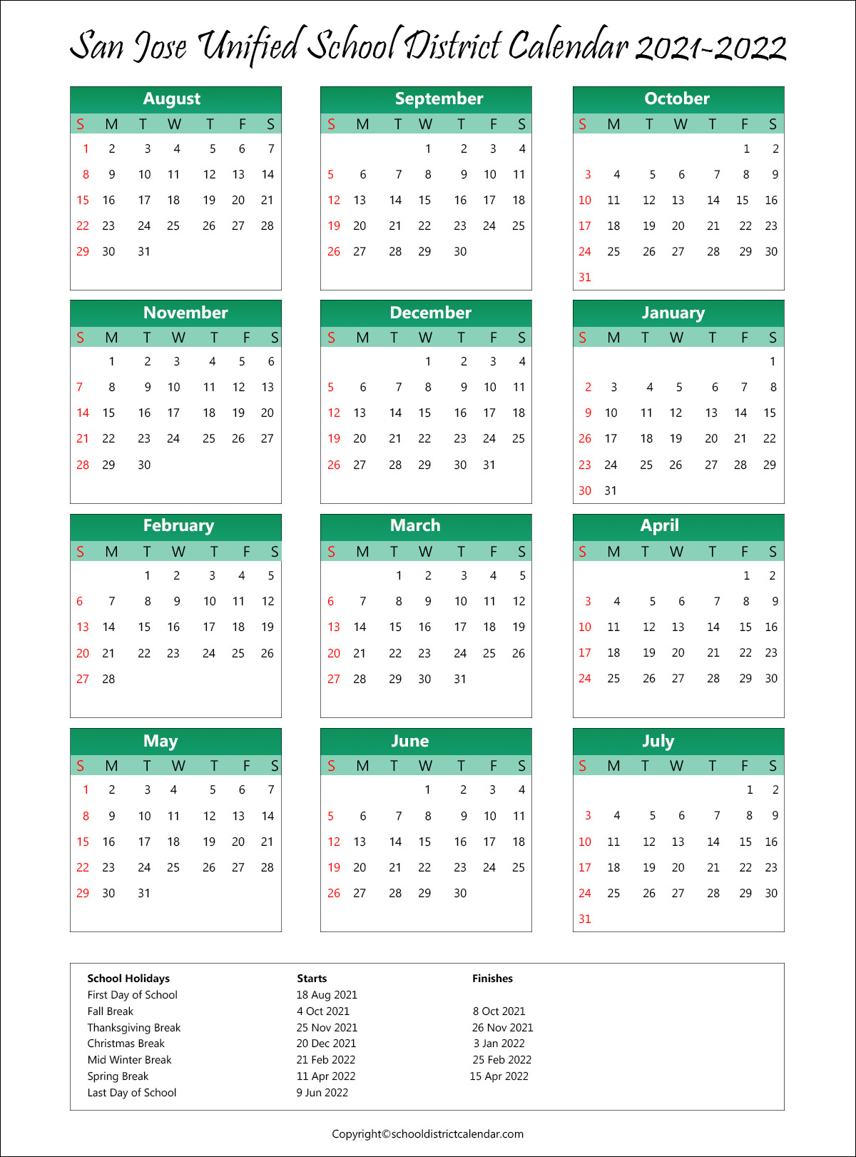 San Jose Unified School District, California Calendar Holidays 2021