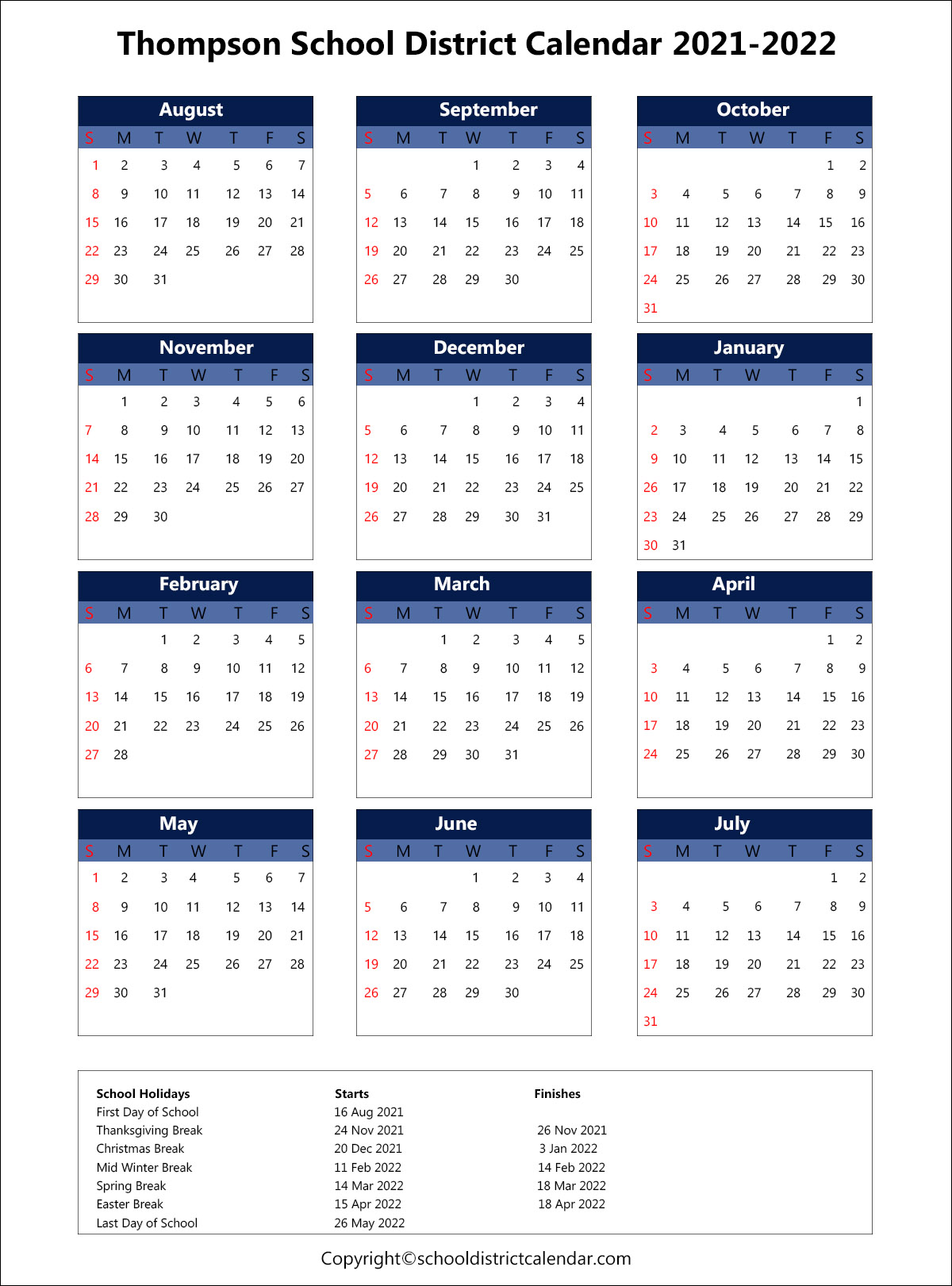 Thompson School District Calendar 2021