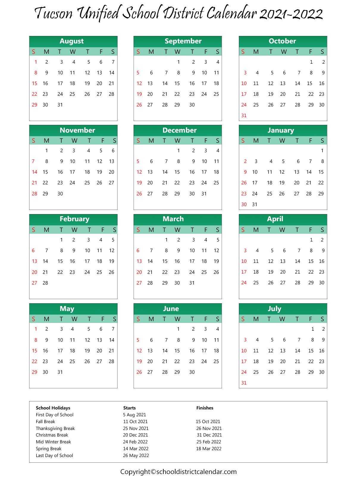 Tucson Unified School District, Arizona Calendar Holidays 2021