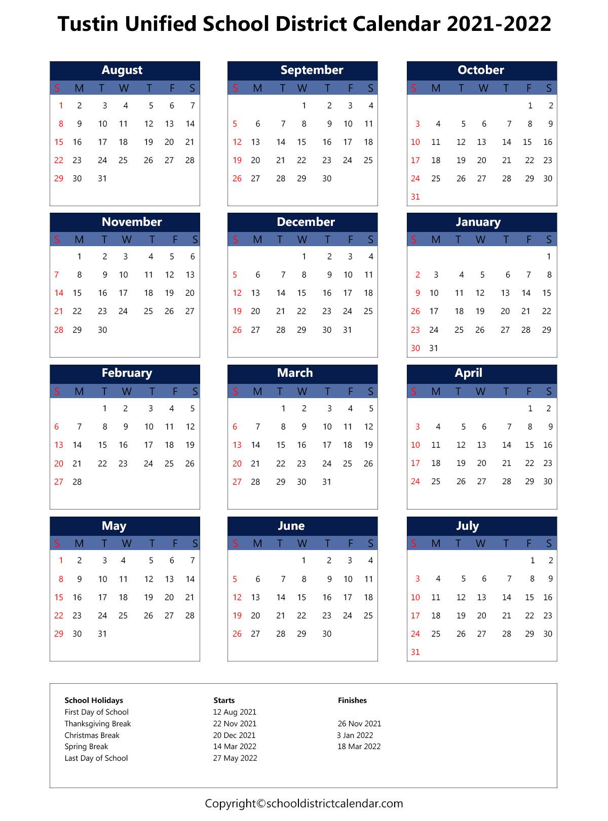Tustin Unified School District Calendar 2021