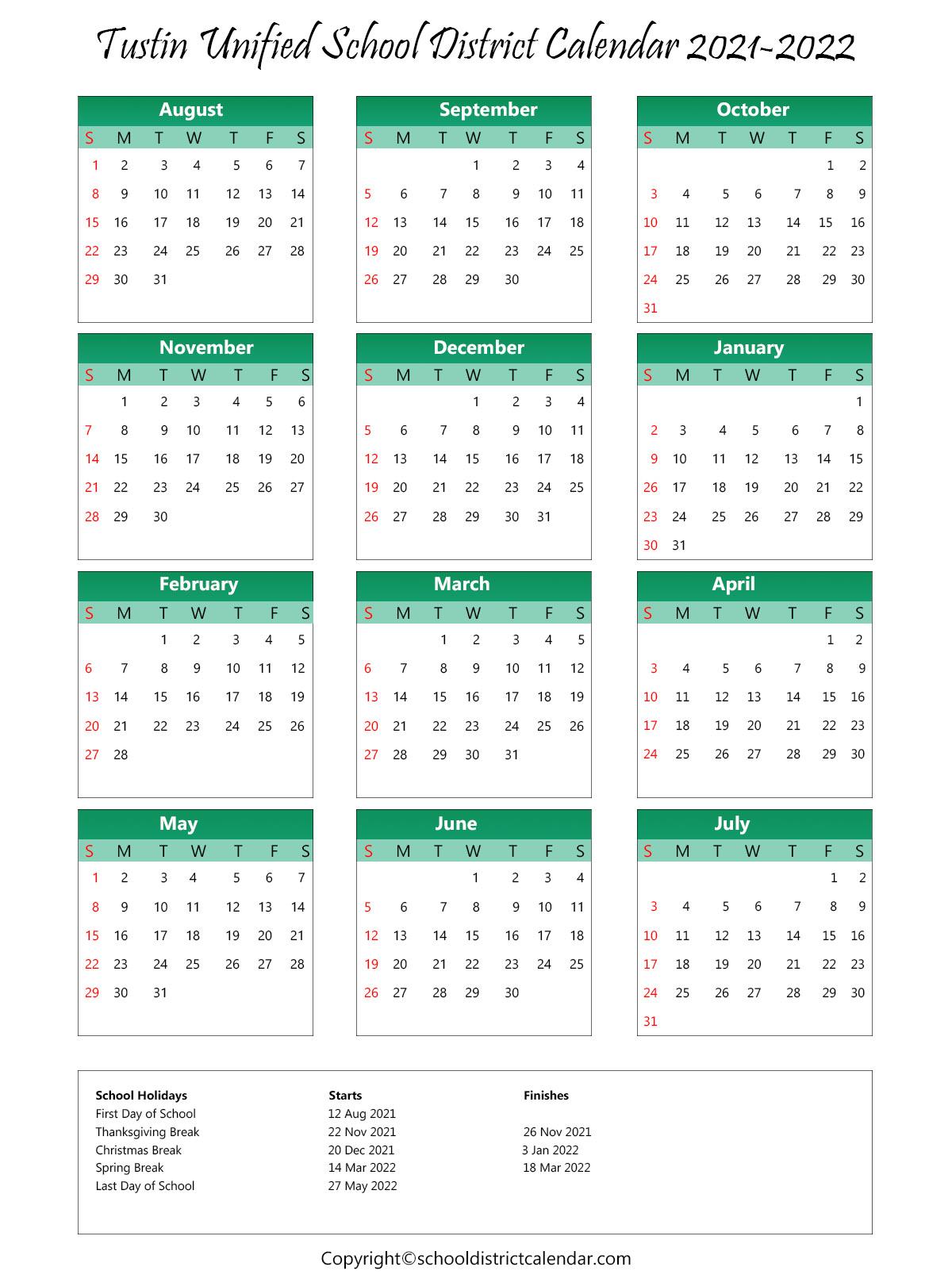 Tustin Unified School District, California Calendar Holidays 2021