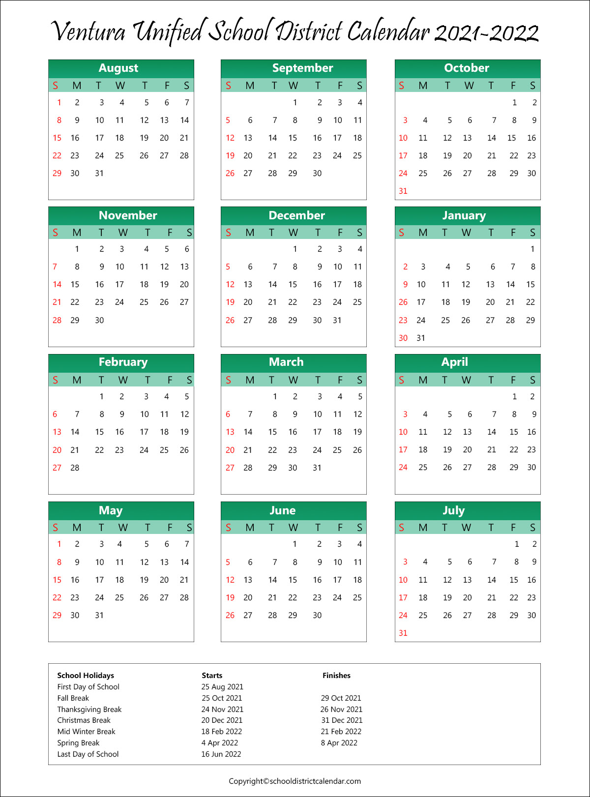 Ventura Unified School District, California Calendar Holidays 2021
