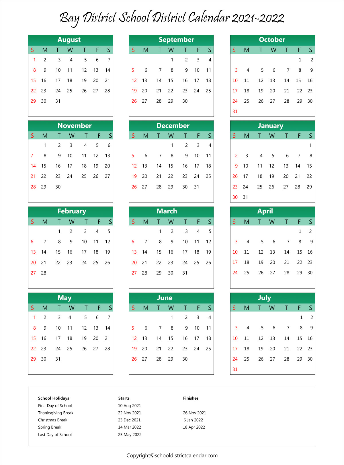 Bay District Schools, Florida Calendar Holidays 2021