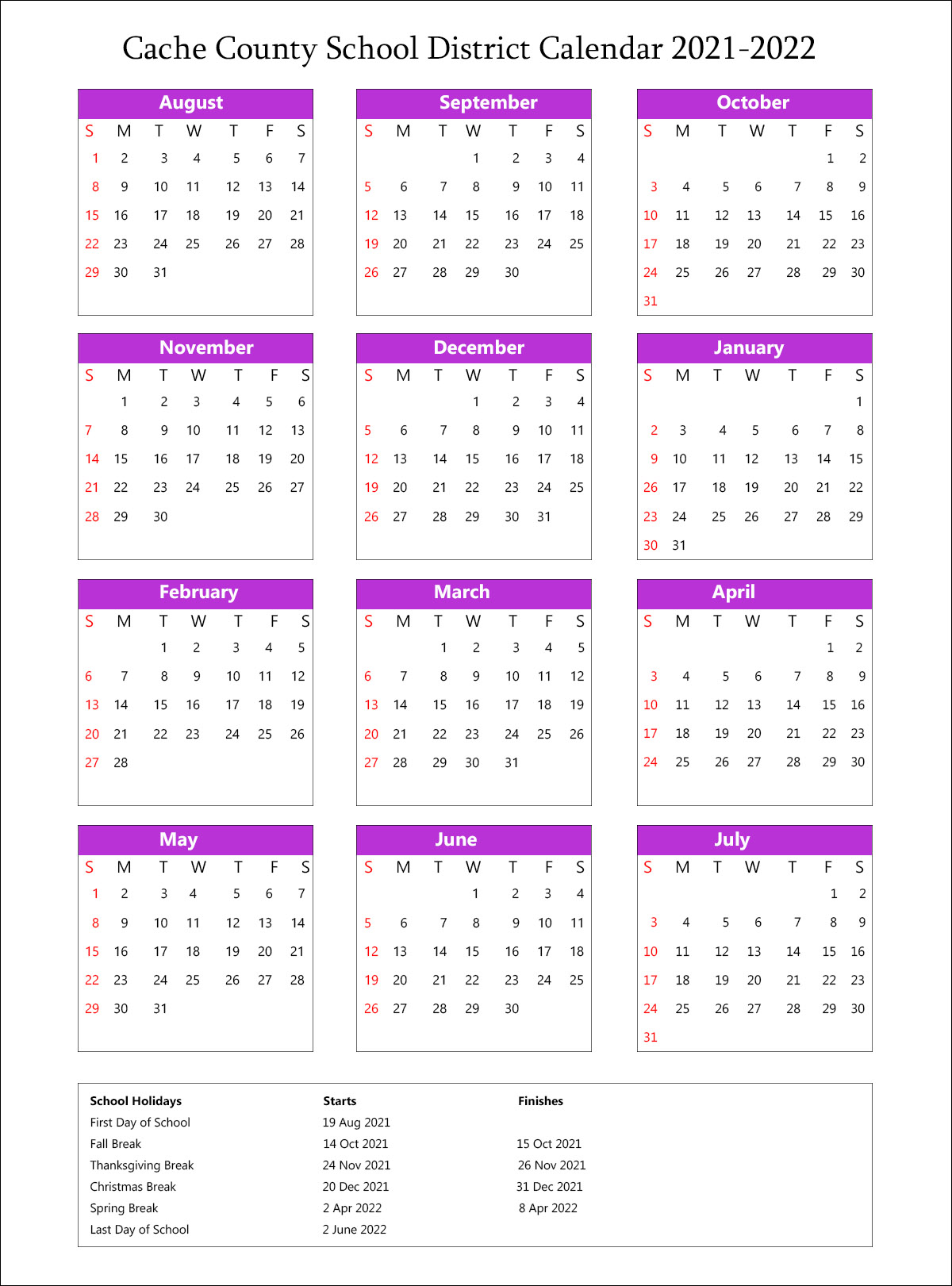 Cache County School District, Utah Calendar Holidays 2021