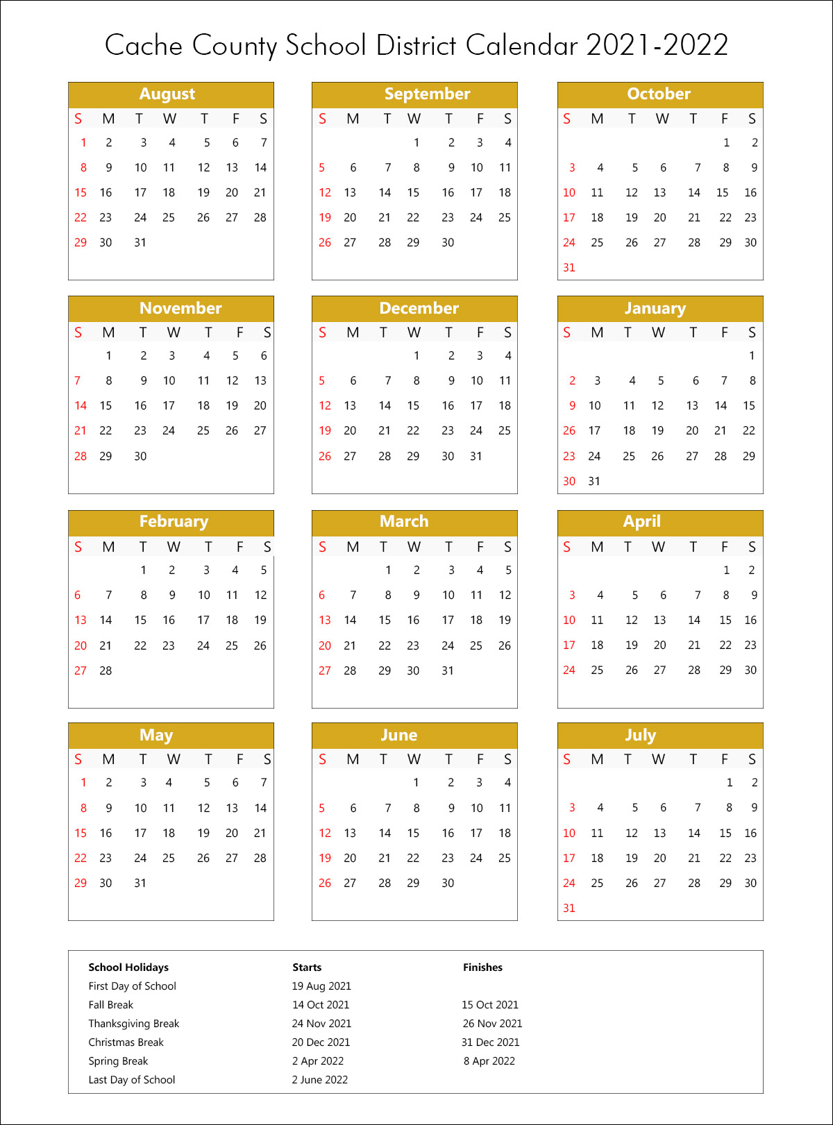 Cache County School District Calendar 2021
