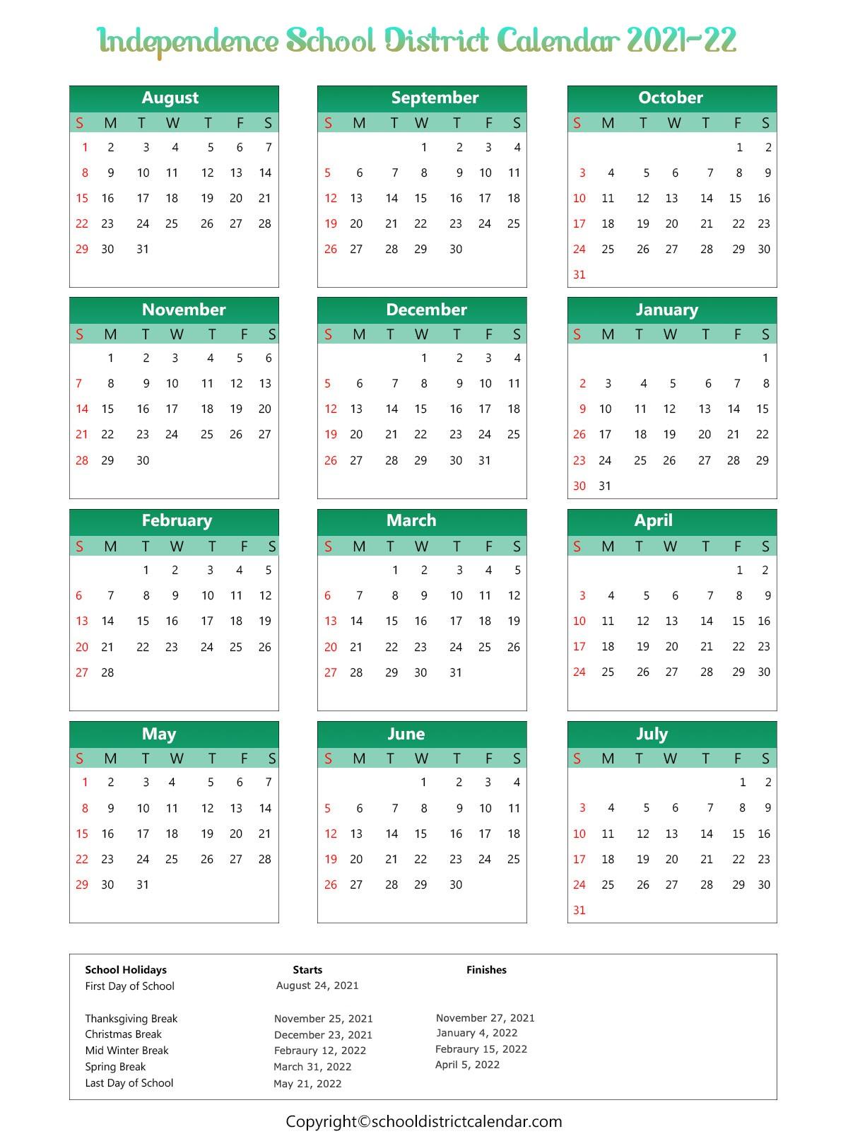 Independence School District Calendar 2021-22