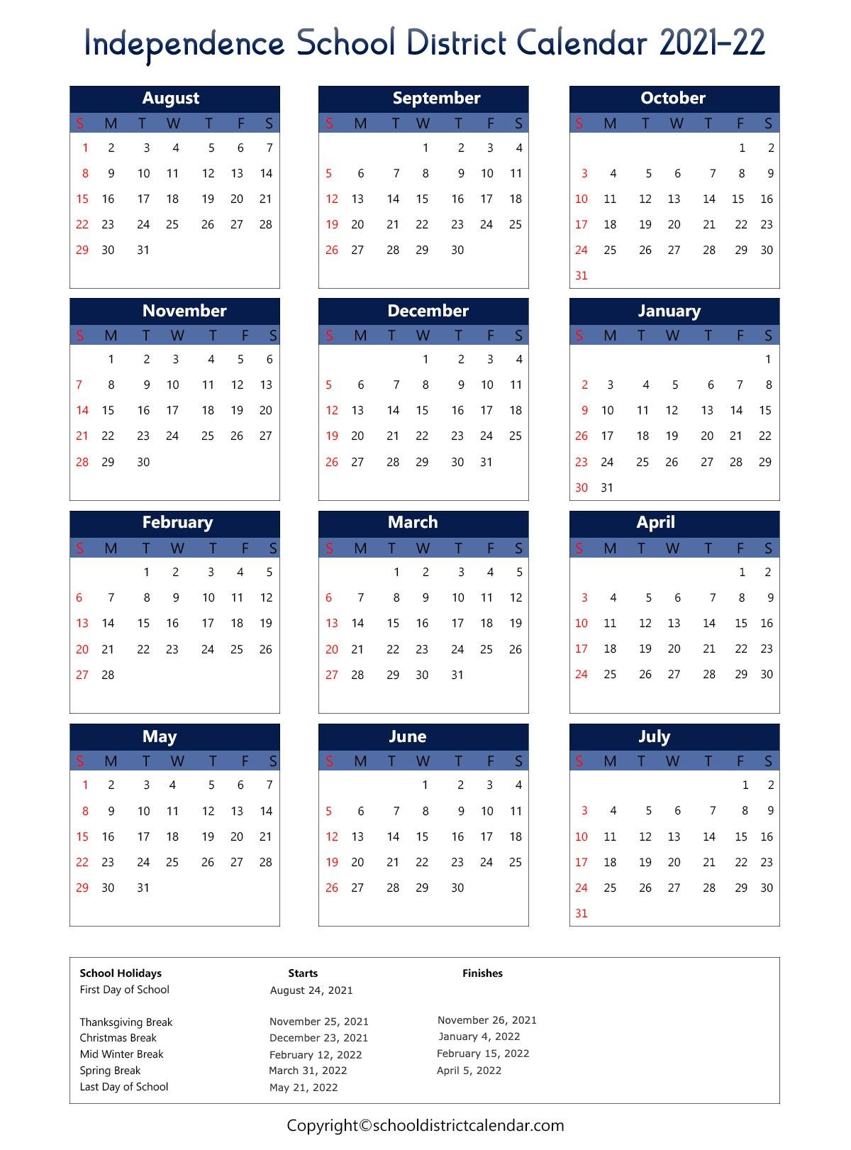 Scps Calendar 2022.Independence School District Calendar Holidays 2021 2022