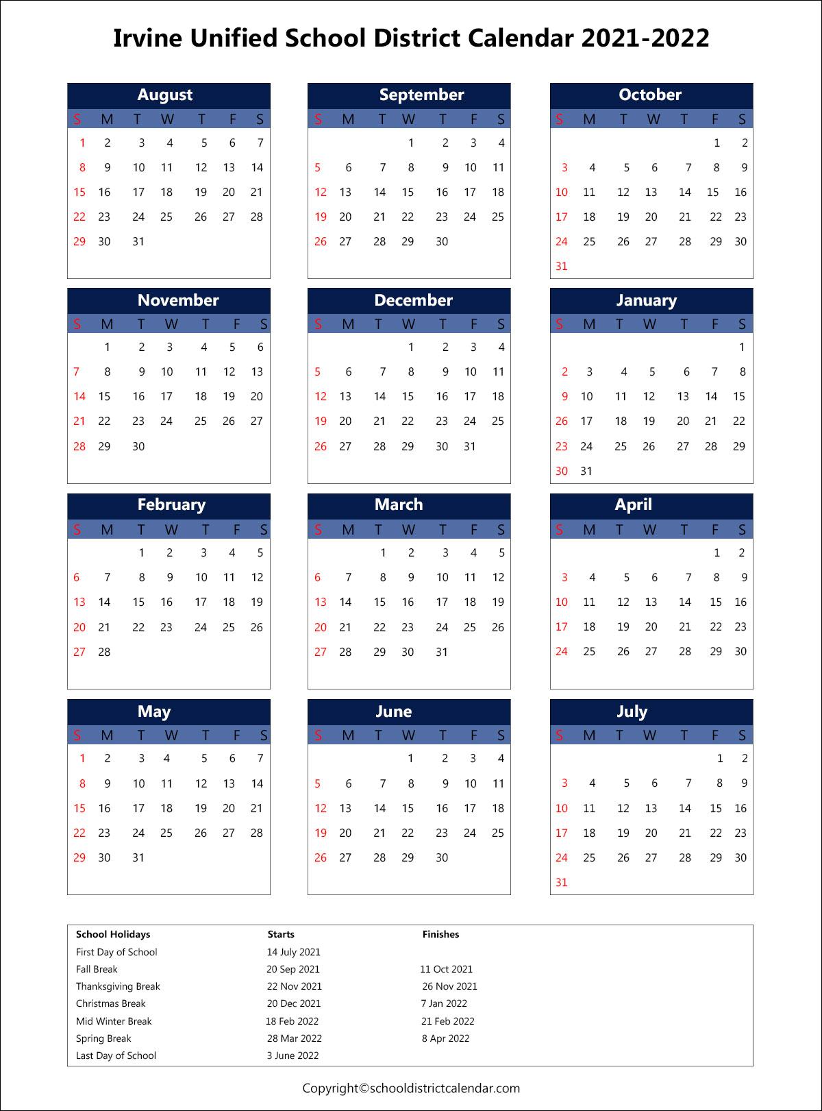 Iusd Calendar 2022.Irvine Unified School District Calendar Holidays 2021 2022