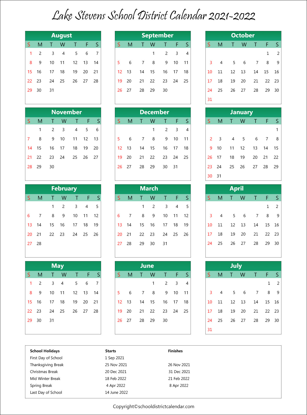 Lake Stevens School District, Washington Calendar Holidays 2021