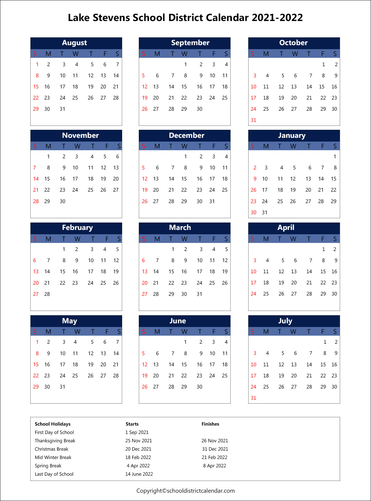 Lake Stevens School District Calendar 2021