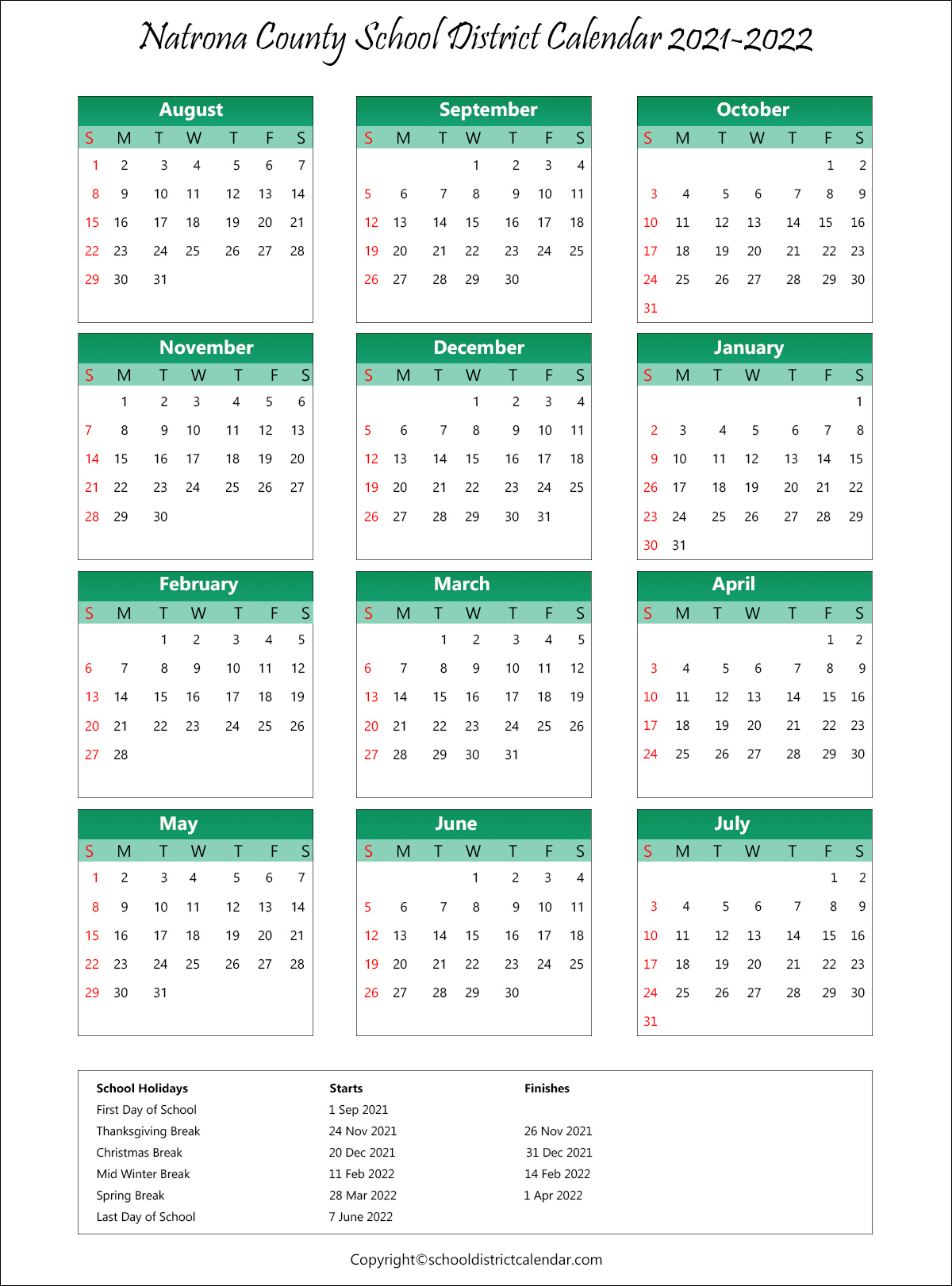 Natrona County School District, Wyoming Calendar Holidays 2021