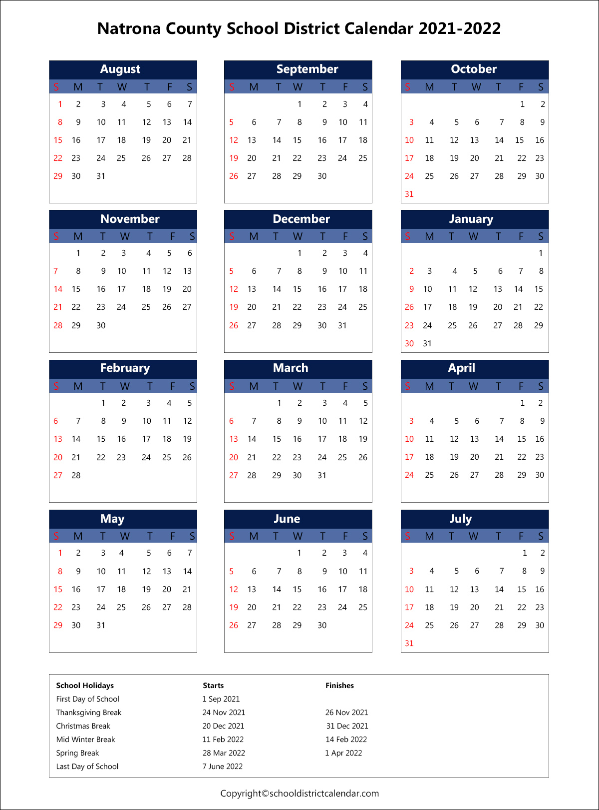 Natrona County School District Calendar 2021