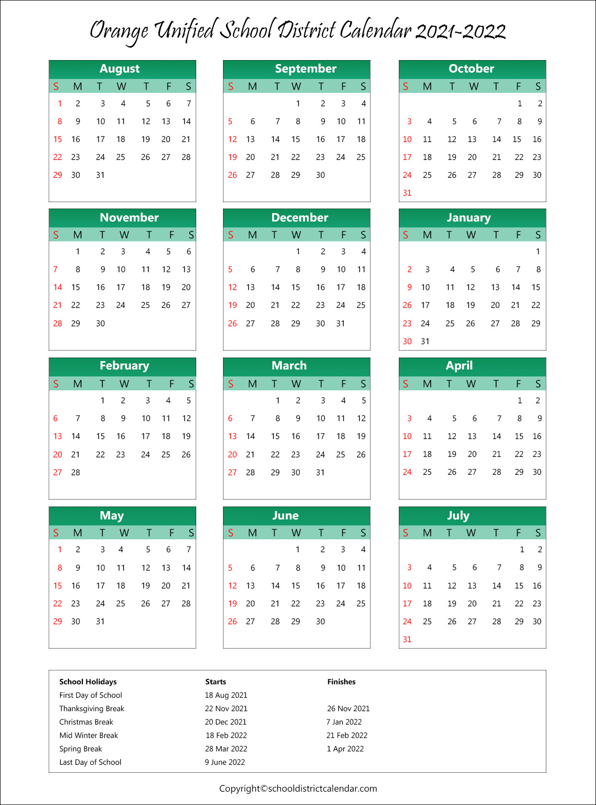 Orange Unified School District, California Calendar Holidays 2021