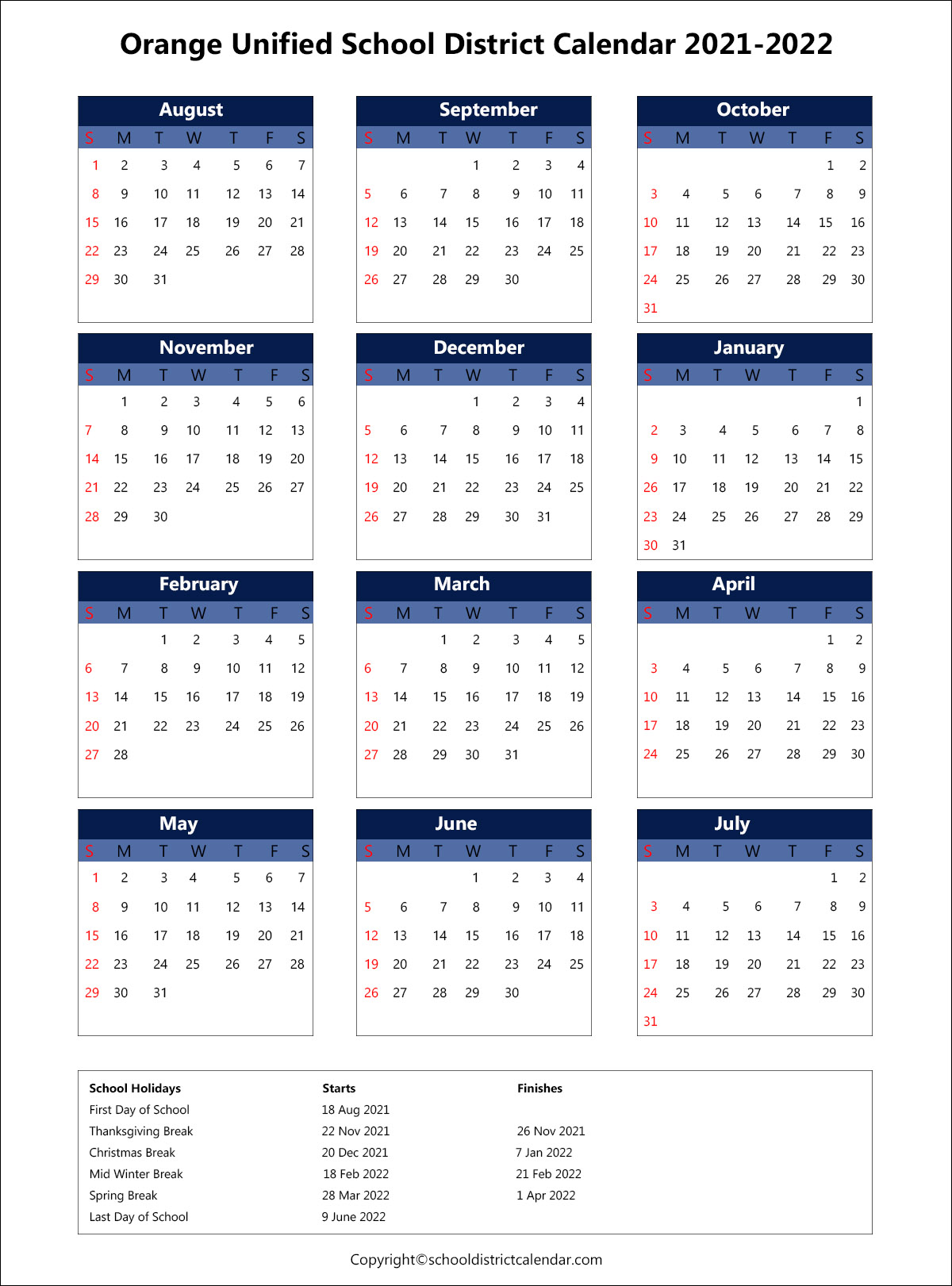 Orange Unified School District Calendar 2021