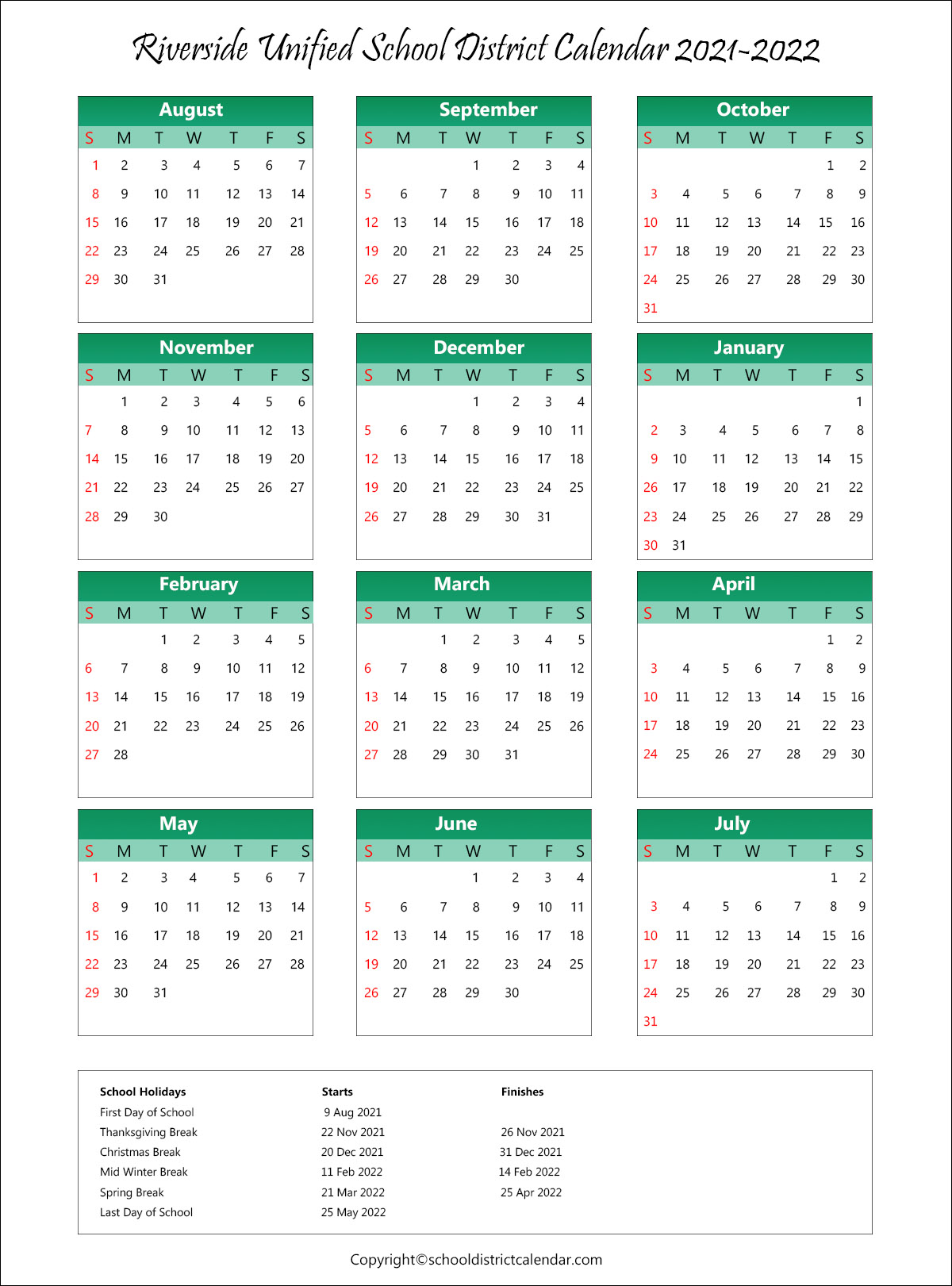 Riverside Unified School District, California Calendar Holidays 2021