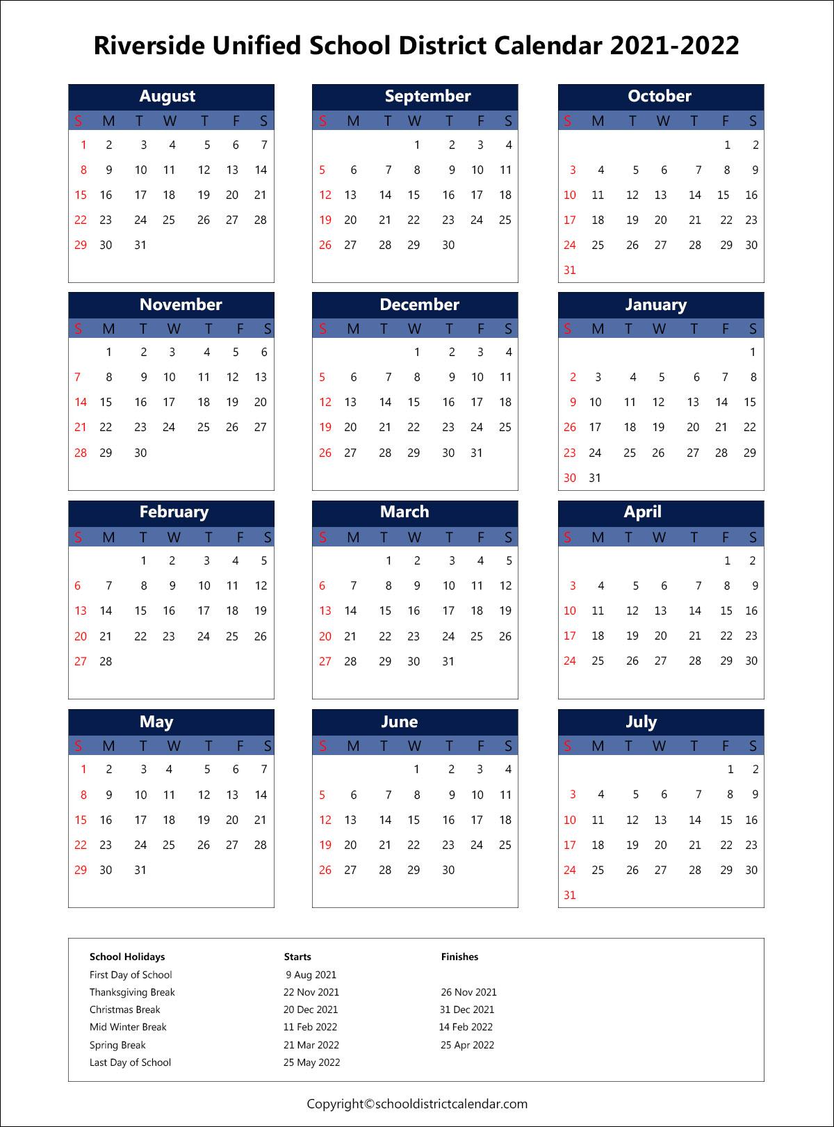 Riverside Unified School District Calendar 2021