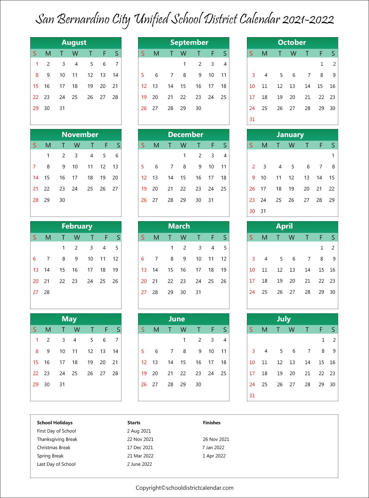 San Bernardino City Unified School District, California Calendar Holidays 2021