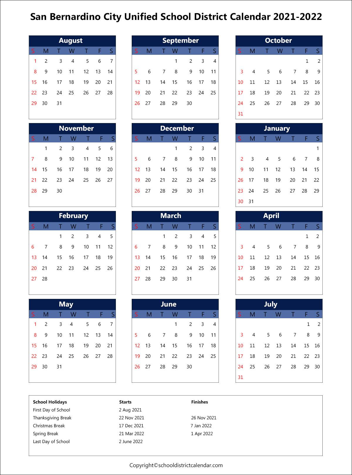 San Bernardino City Unified School District Calendar 2021