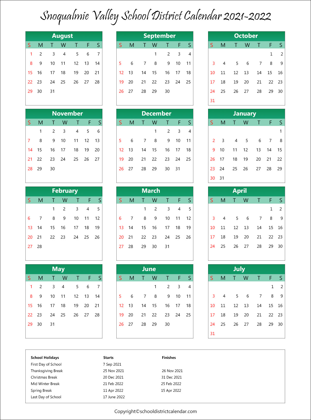 Snoqualmie Valley School District, Washington Calendar Holidays 2021