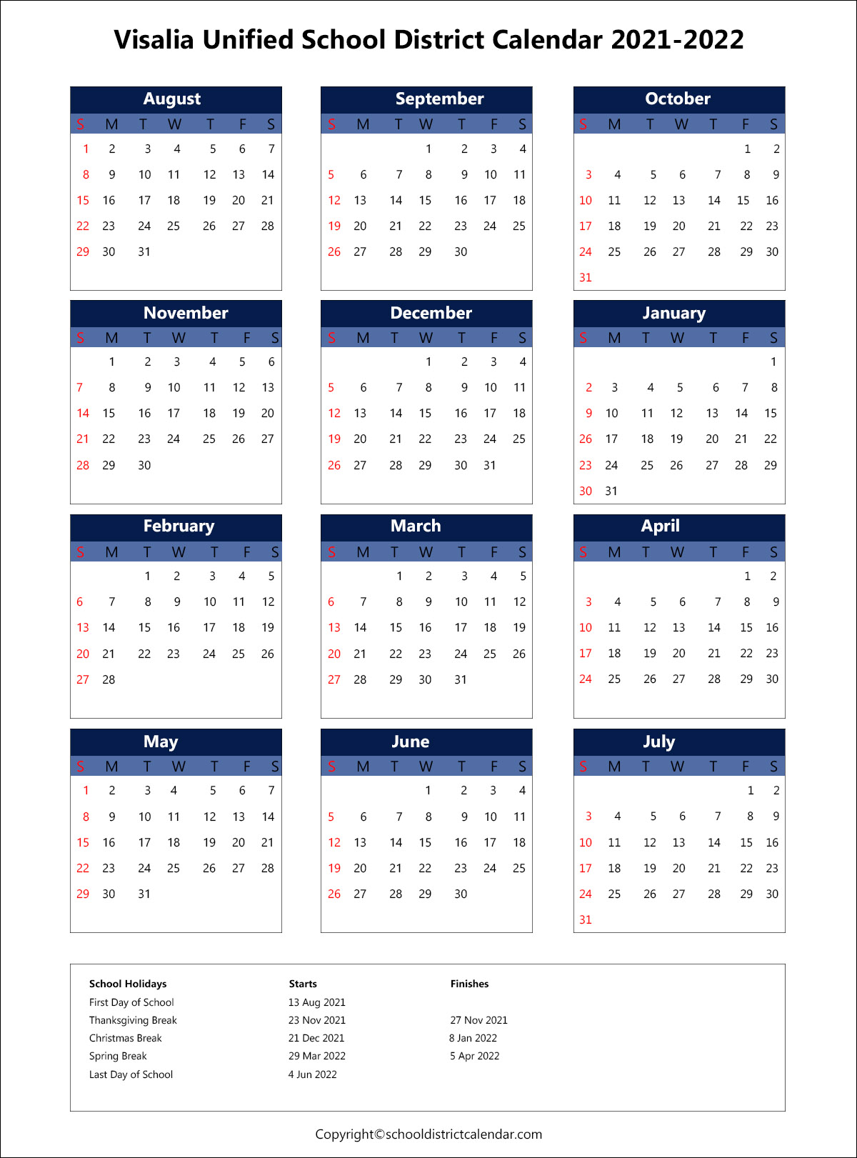 Visalia Unified School District Calendar 2021