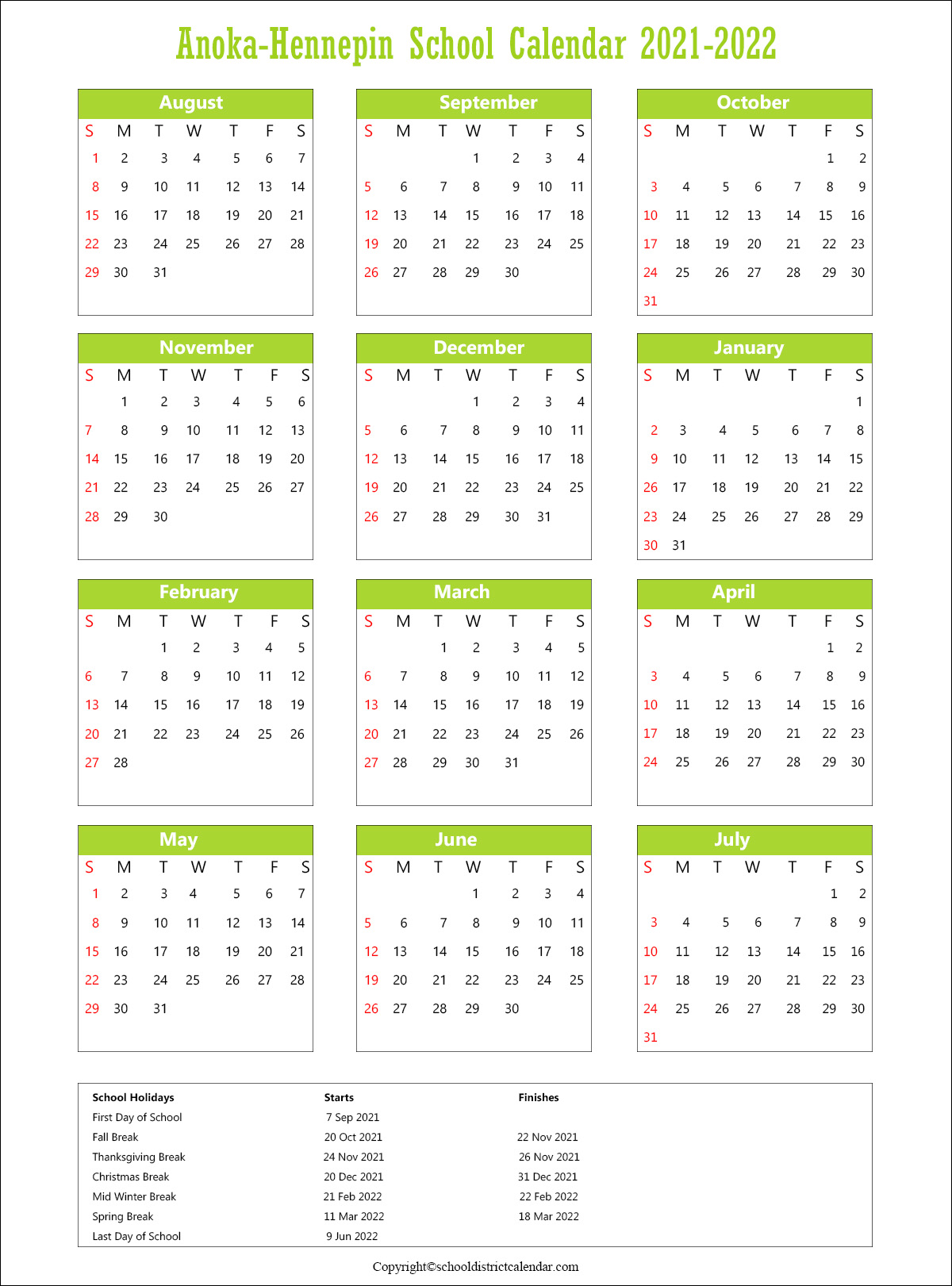 Anoka-Hennepin School District, Minnesota Calendar Holidays 2021