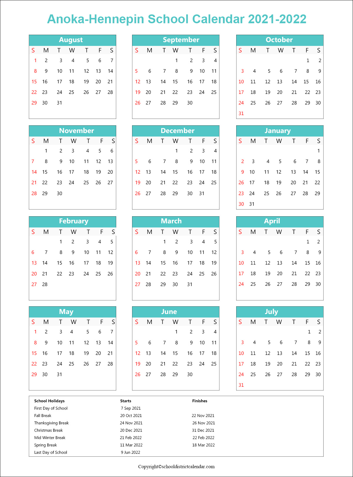 Anoka-Hennepin School District Calendar 2021